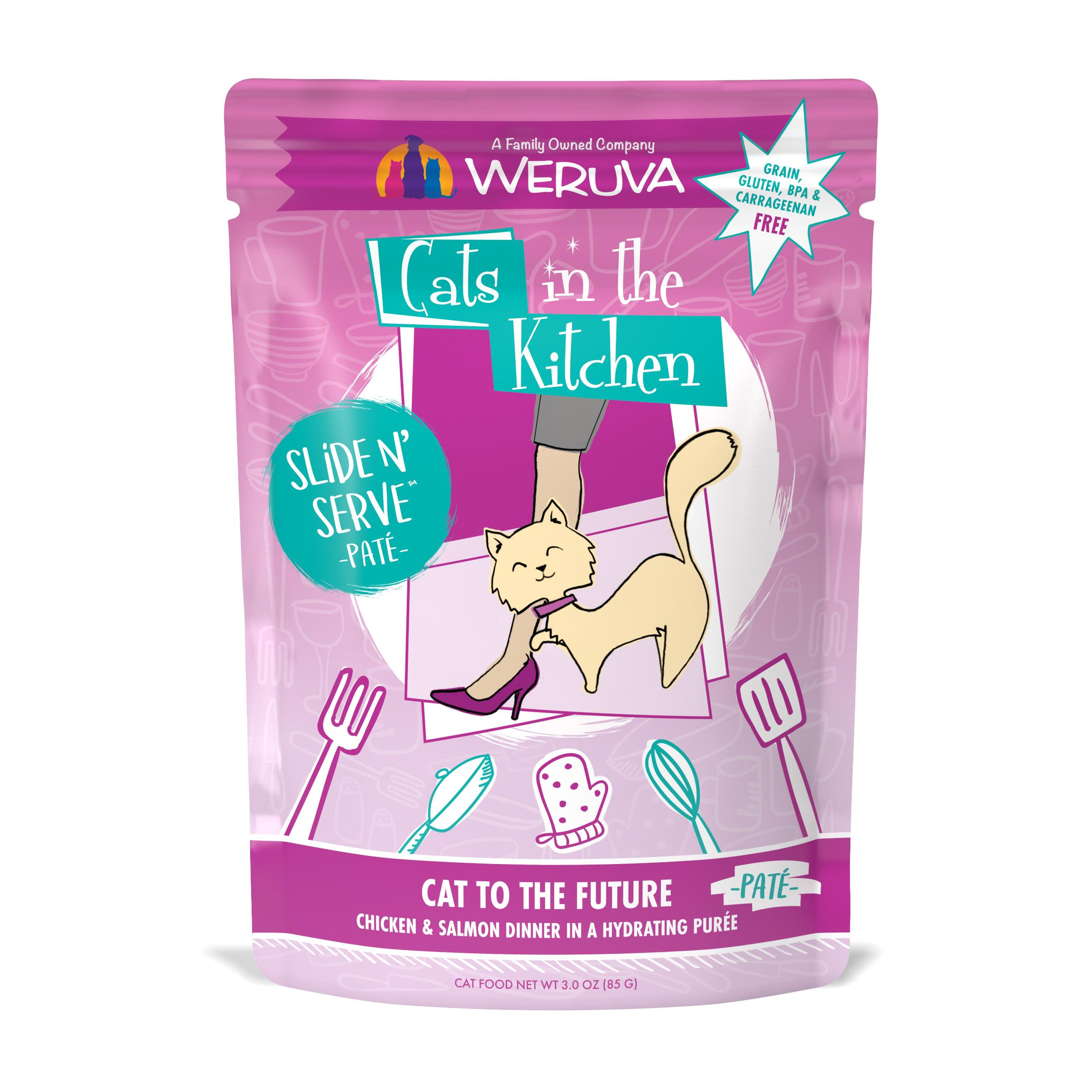 Weruva Cats In The Kitchen Pate Cat to The Future Chicken & Salmon Dinner in Puree Grain-Free Wet Cat Food, 3-oz pouch