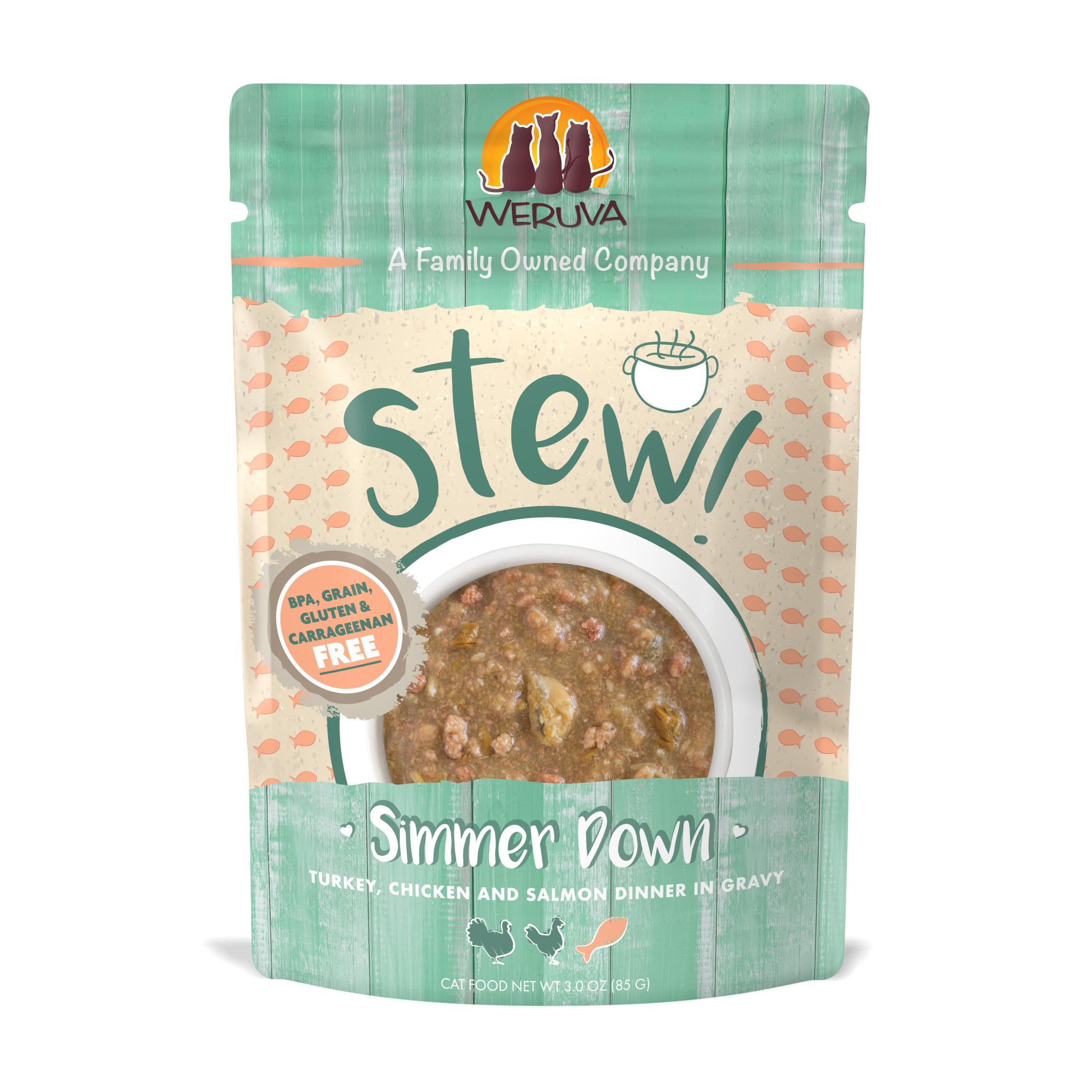 Weruva Cat Stew! Simmer Down Turkey, Chicken & Salmon Dinner in Gravy Wet Cat Food, 3-oz