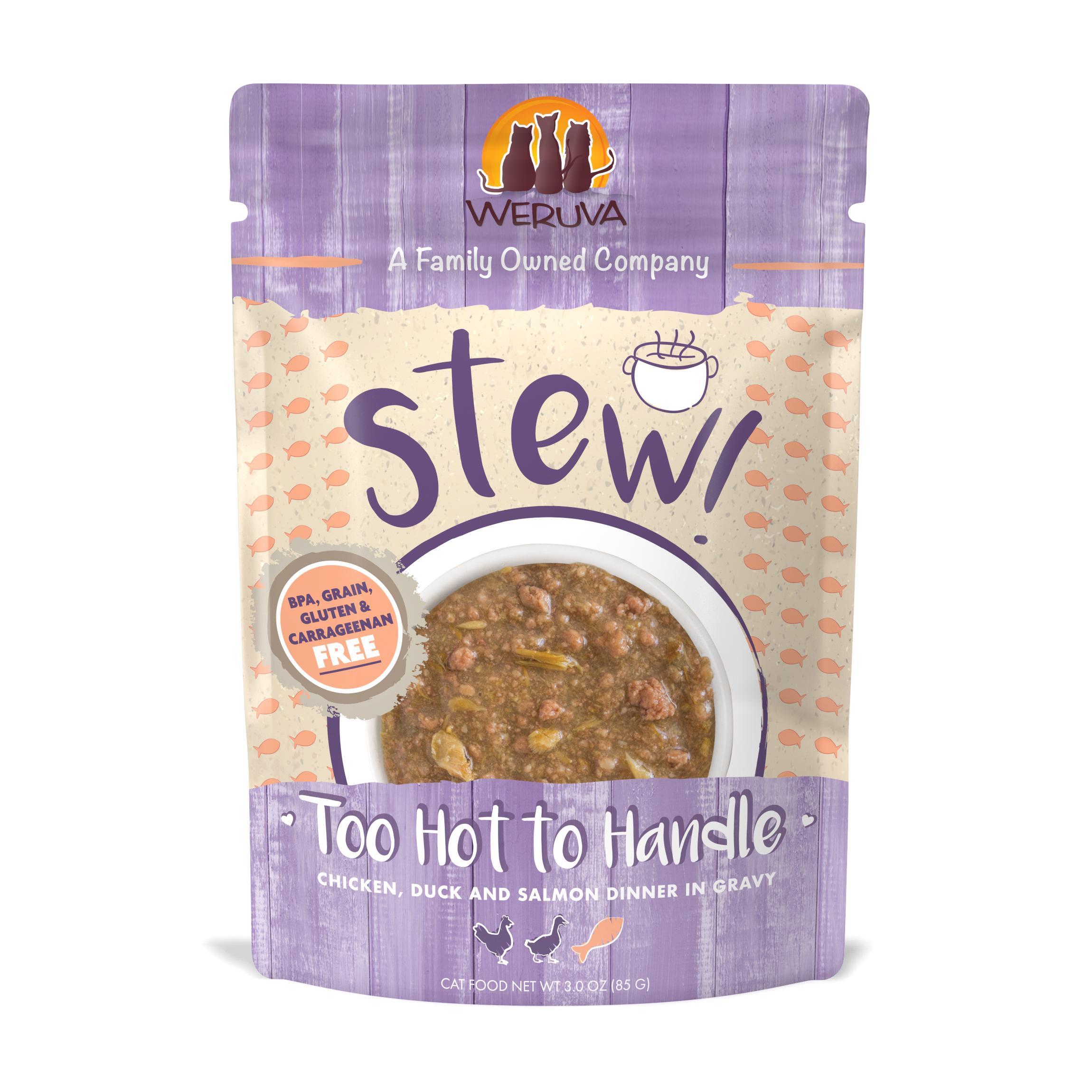 Weruva Cat Stew! Too Hot to Handle Chicken, Duck & Salmon Dinner in Gravy Wet Cat Food, 3-oz