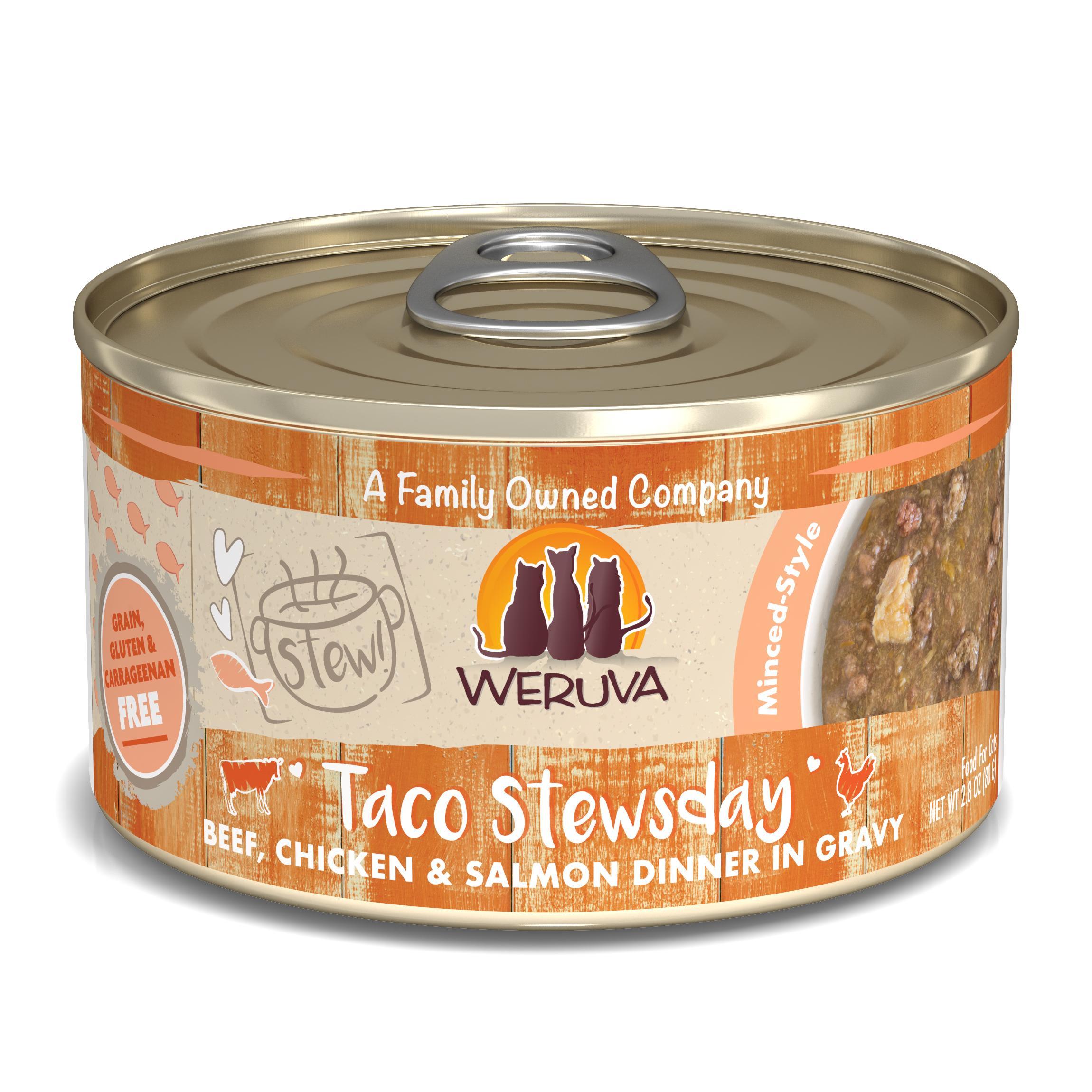 Weruva Cat Stew! Taco Stewsday Beef, Chicken & Salmon Dinner in Gravy Wet Cat Food, 2.8-oz