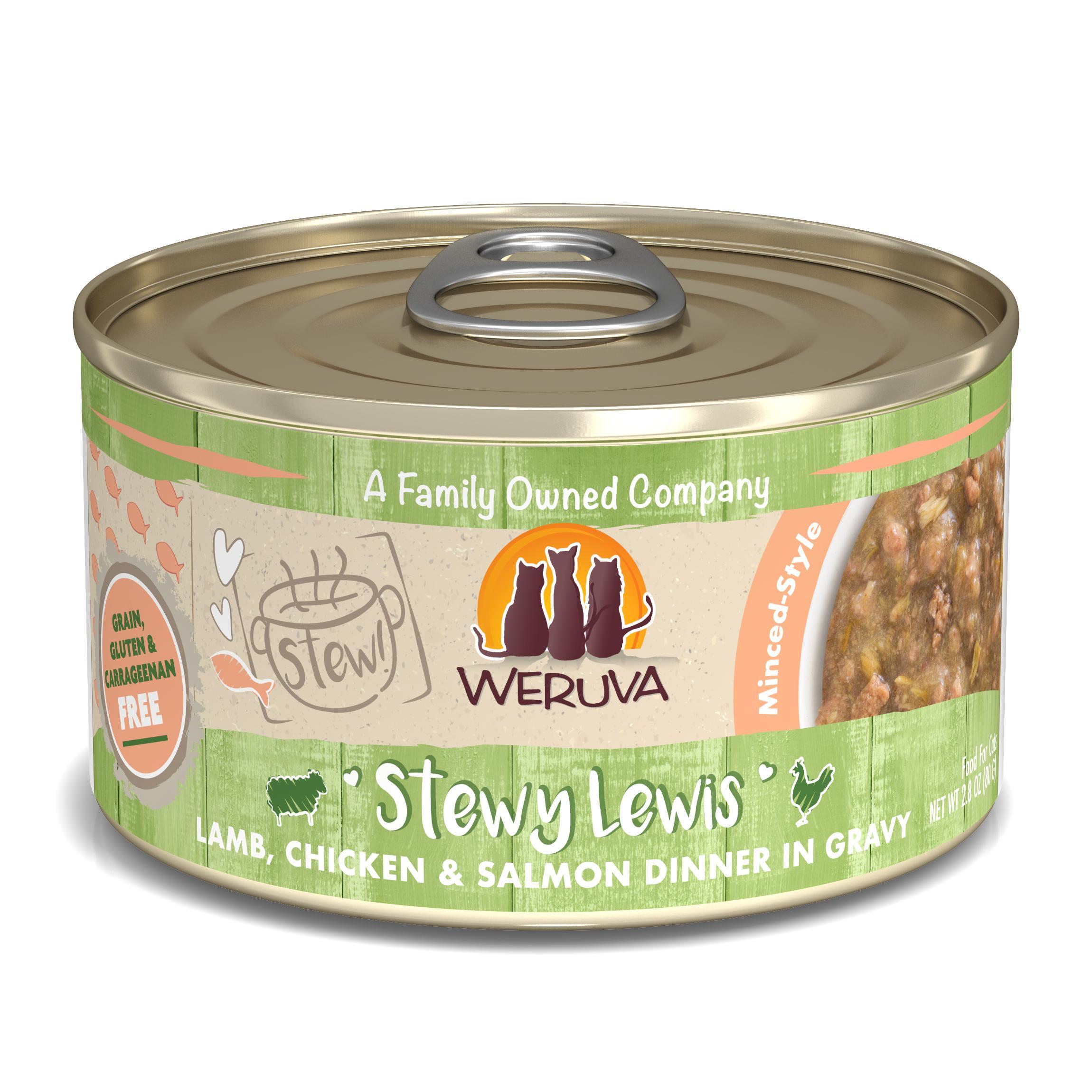 Weruva Cat Stew! Stewy Lewis Lamb, Chicken & Salmon Dinner in Gravy Wet Cat Food Image