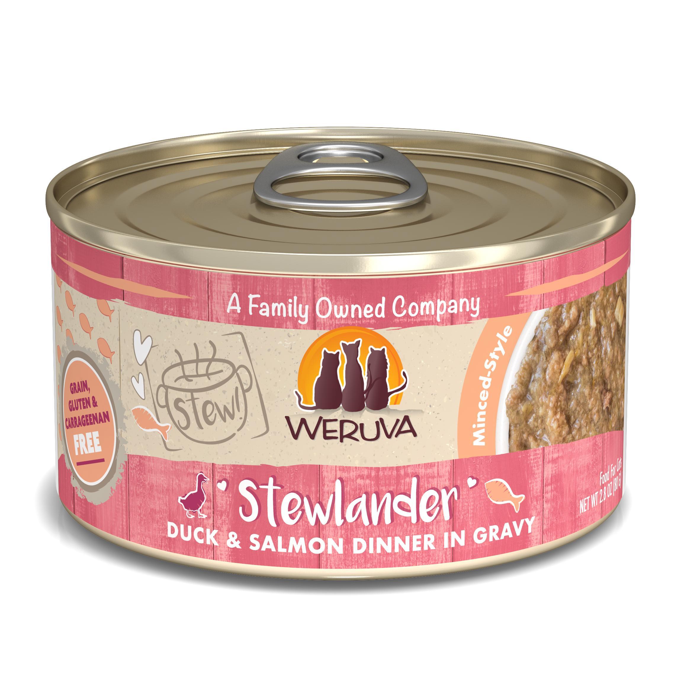 Weruva Cat Stew! Stewlander Duck & Salmon Dinner in Gravy Wet Cat Food, 2.8-oz