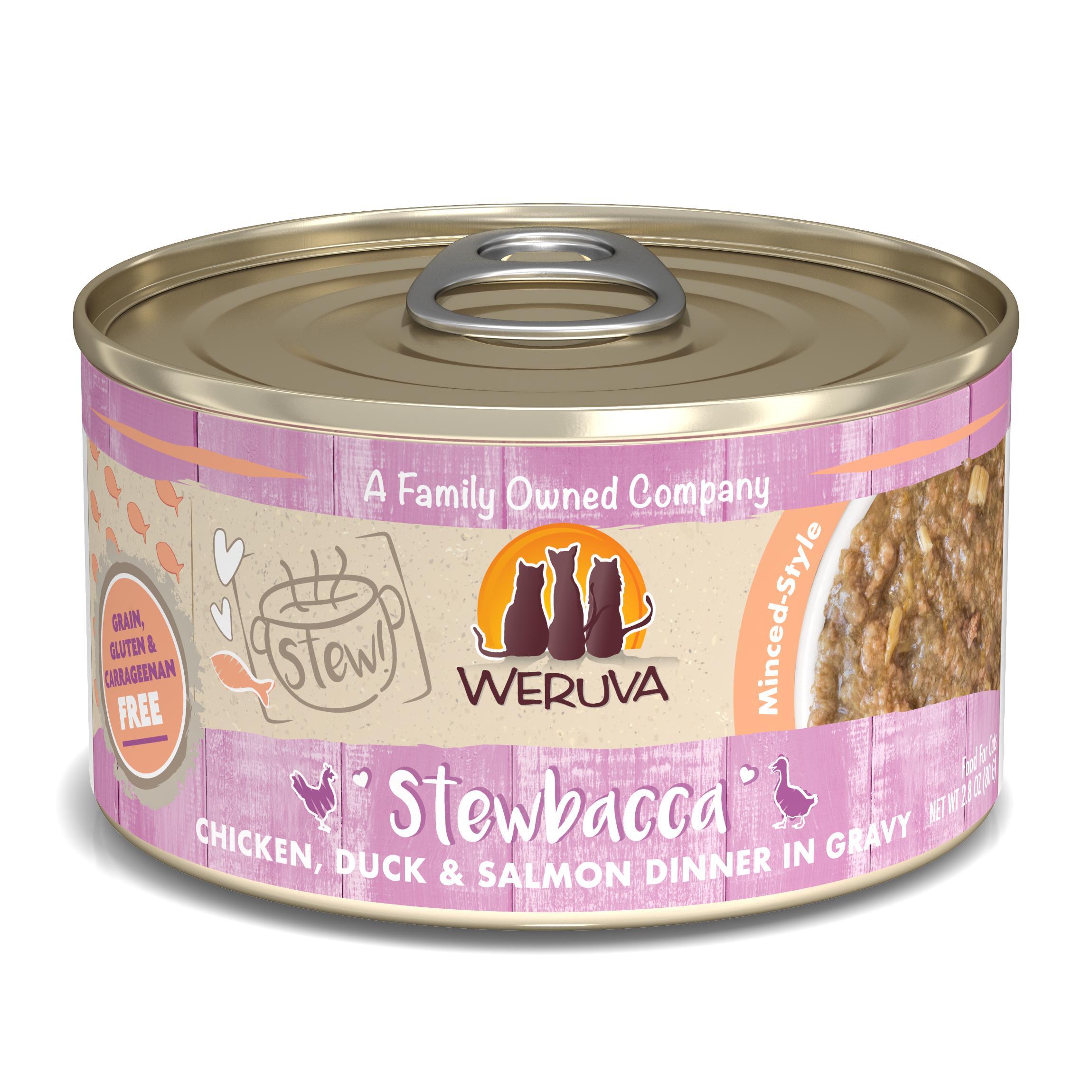 Weruva Cat Stew! Stewbacca Chicken, Duck & Salmon Dinner in Gravy Wet Cat Food, 2.8-oz