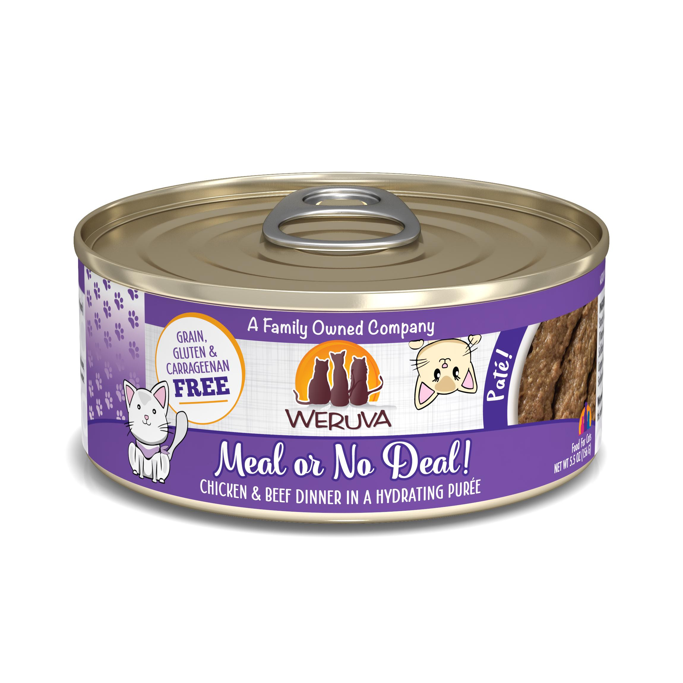 Weruva Cat Pate Meal or No Deal! Chicken & Beef Dinner in Puree Wet Cat Food, 5.5-oz can