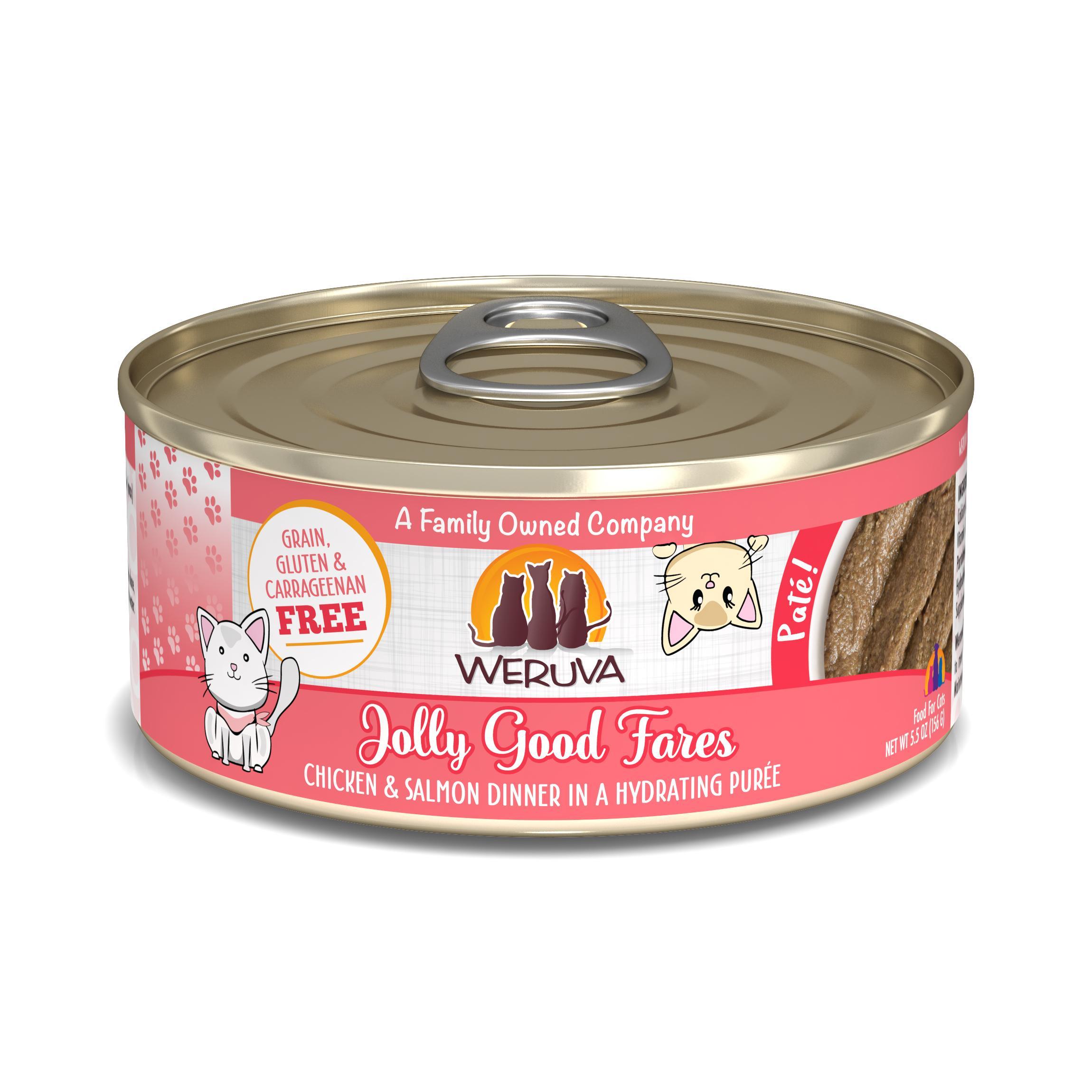 Weruva Cat Pate Jolly Good Fares Chicken & Salmon Dinner in Puree Wet Cat Food, 5.5-oz can