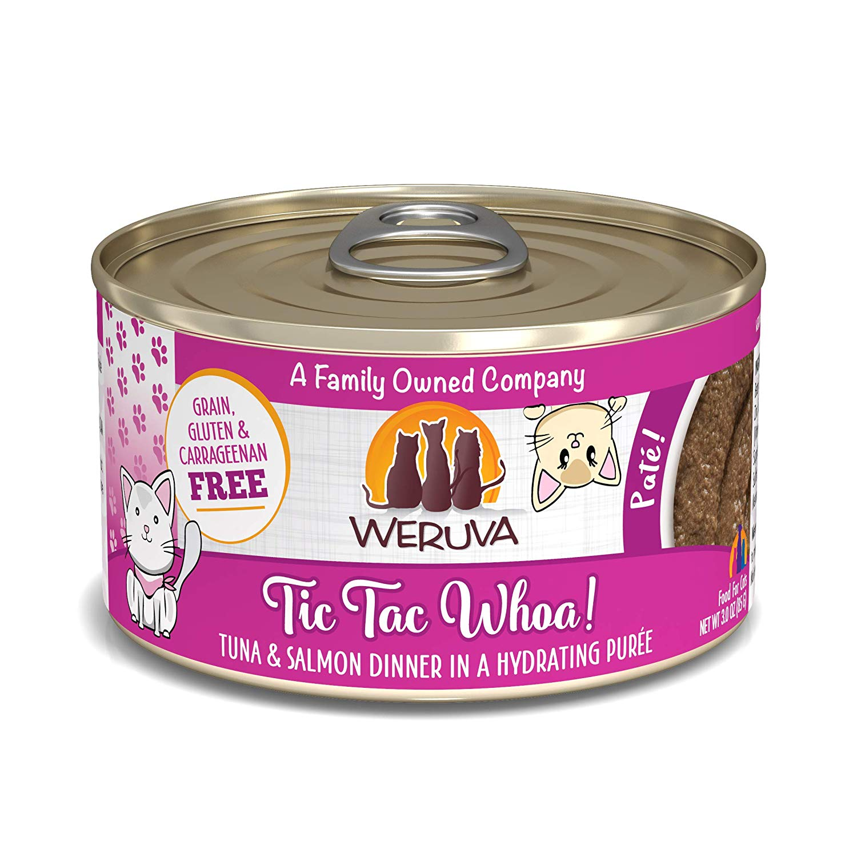 Weruva Cat Pate Tic Tac Whoa! Tuna & Salmon Dinner in Puree Wet Cat Food, 3-oz can