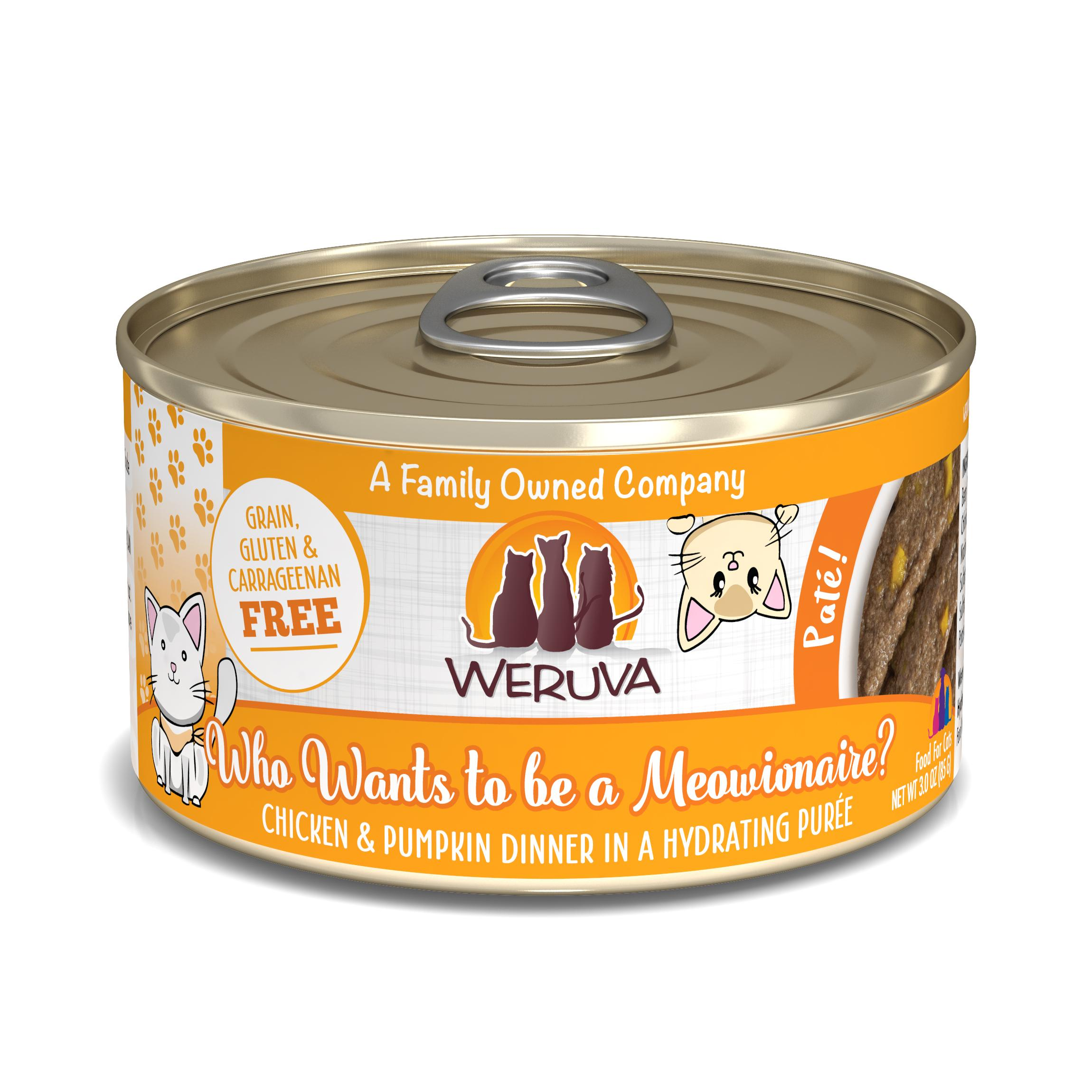 Weruva Cat Pate Who wants to be a Meowionaire? Chicken & Pumpkin Dinner in Puree Wet Cat Food, 3-oz can