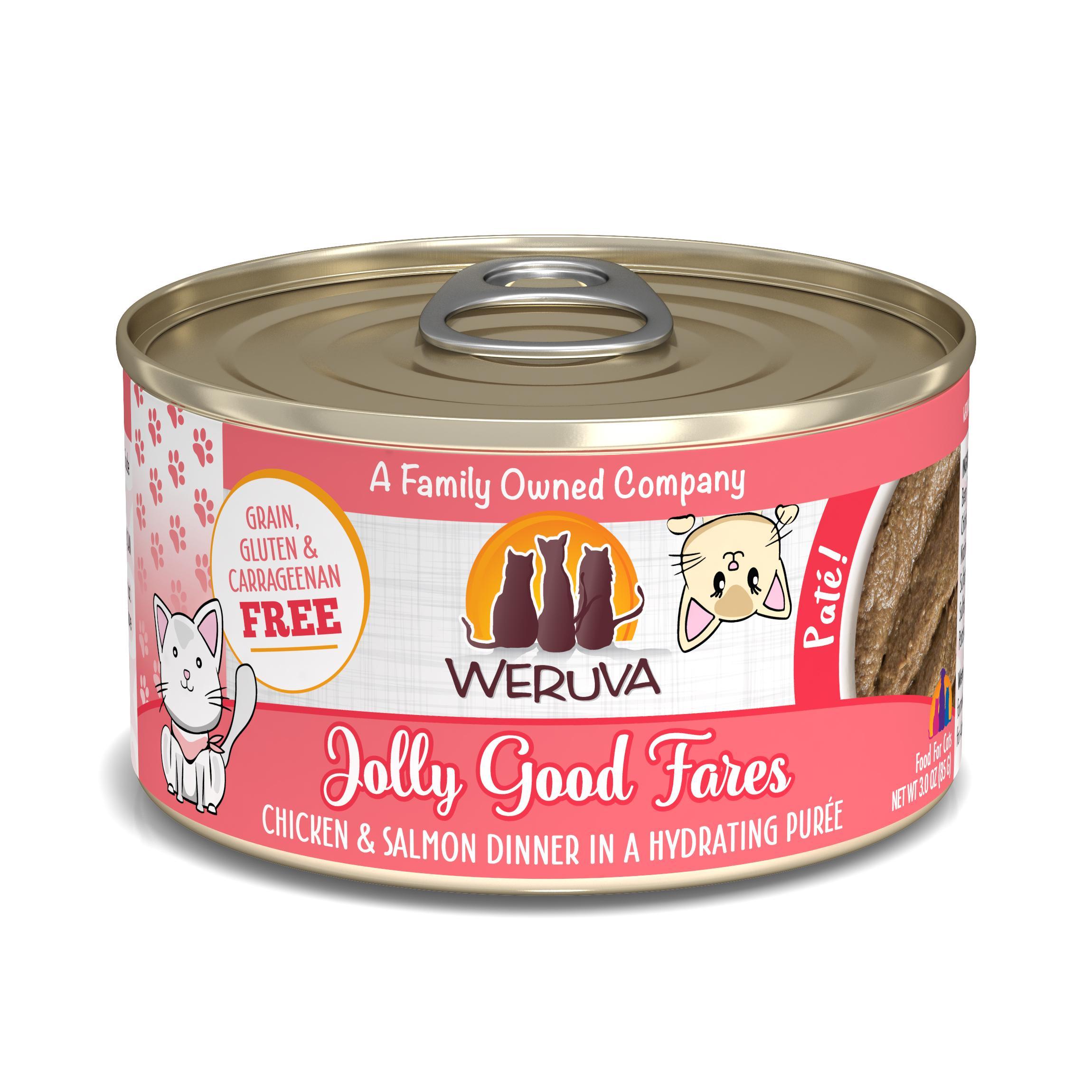 Weruva Cat Pate Jolly Good Fares Chicken & Salmon Dinner in Puree Wet Cat Food, 3-oz can