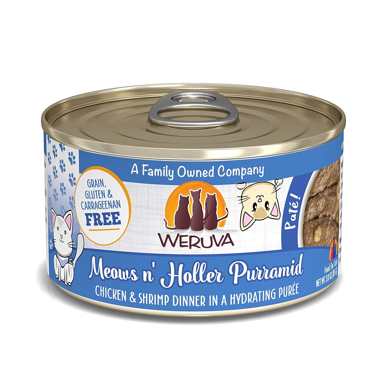 Weruva Cat Pate Meows n' Holler PurrAmid Chicken & Shrimp Dinner in Puree Wet Cat Food, 3-oz can