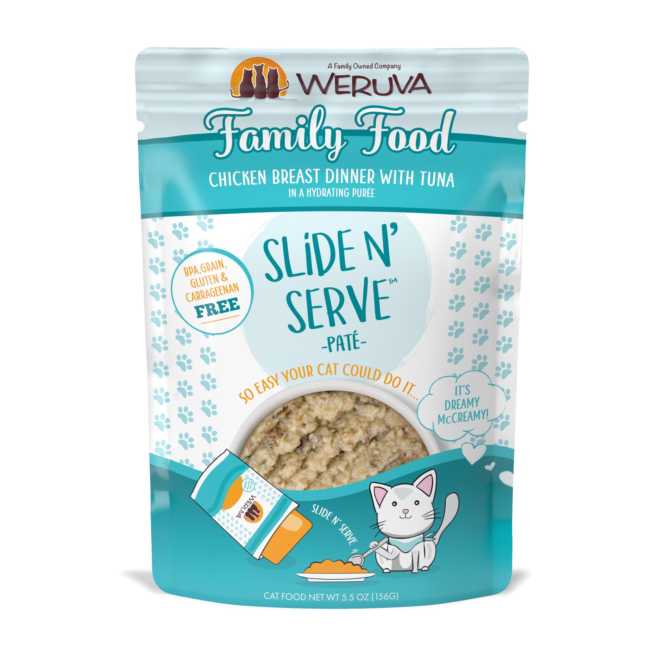Weruva Cat Slide N' Serve Pate Family Food Chicken Tuna Wet CatFood, 5.5-oz