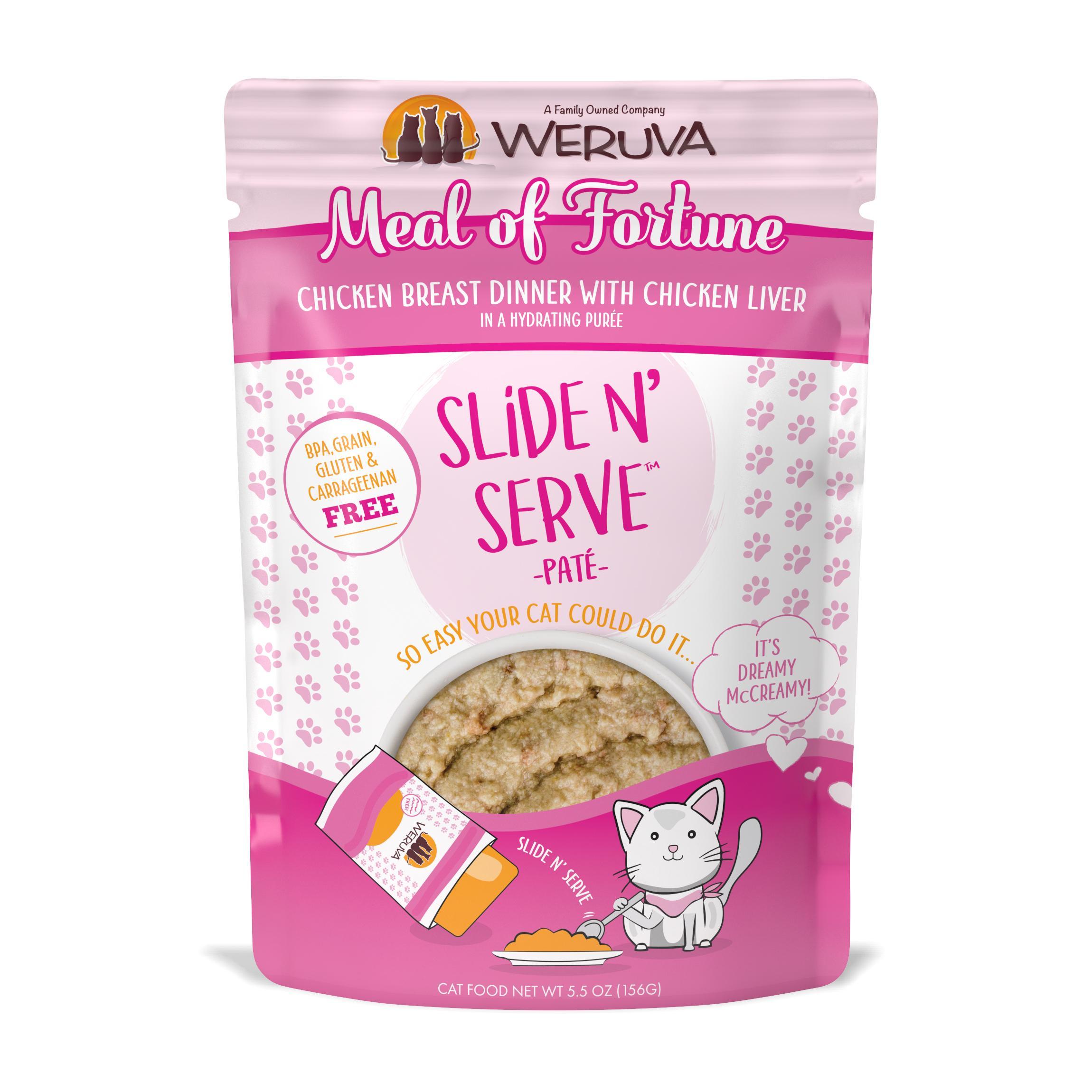 Weruva Cat Slide N' Serve Pate Meal of Fortune Chicken Liver Wet CatFood, 5.5-oz