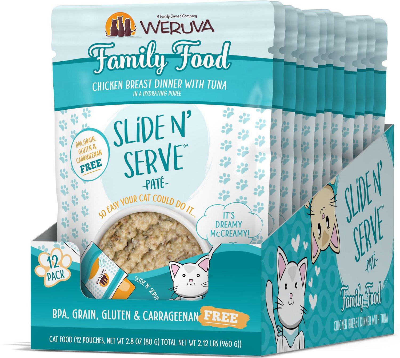 Weruva Cat Slide N' Serve Pate Family Food Chicken Tuna Wet CatFood, 2.8-oz, case of 12