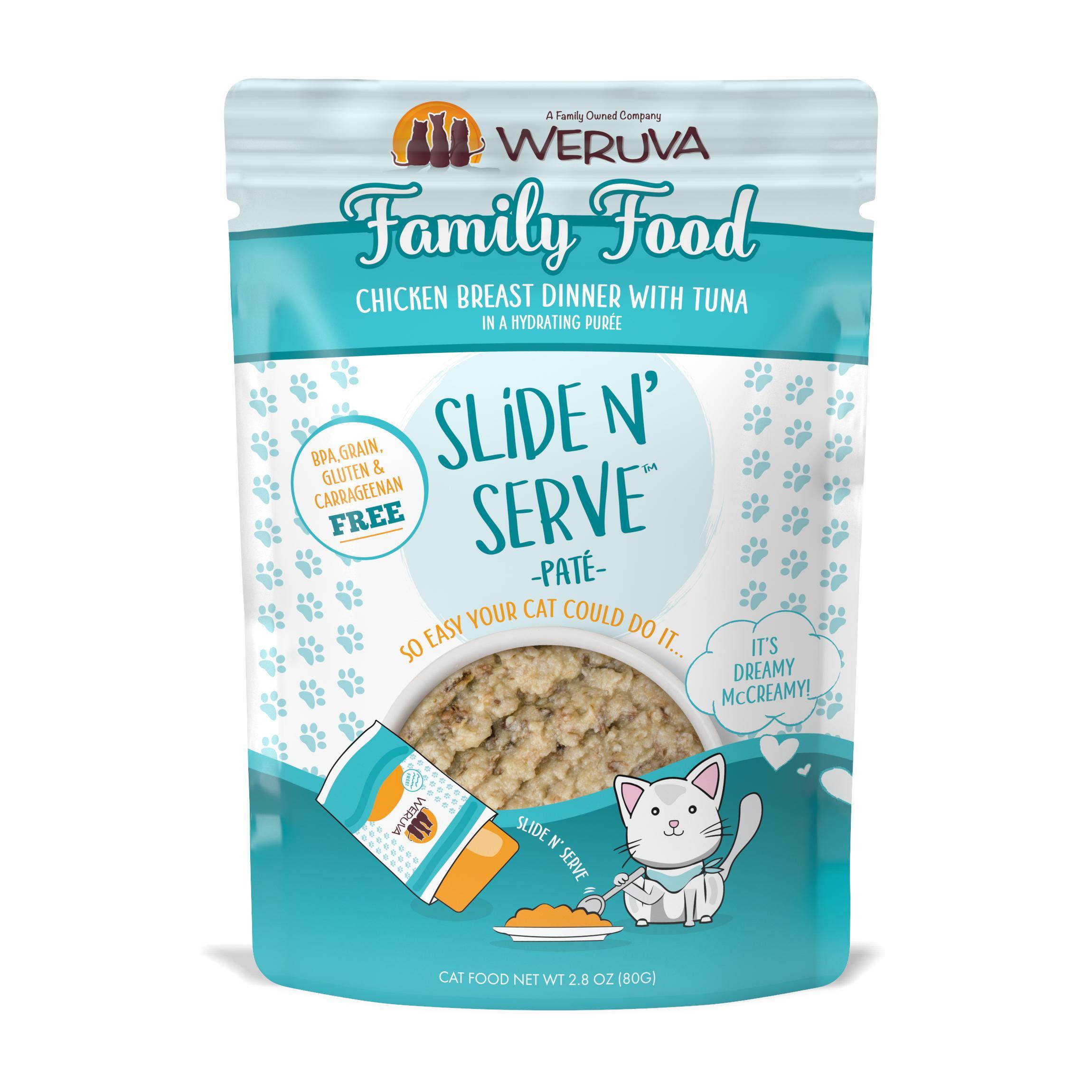 Weruva Cat Slide N' Serve Pate Family Food Chicken Tuna Wet CatFood, 2.8-oz