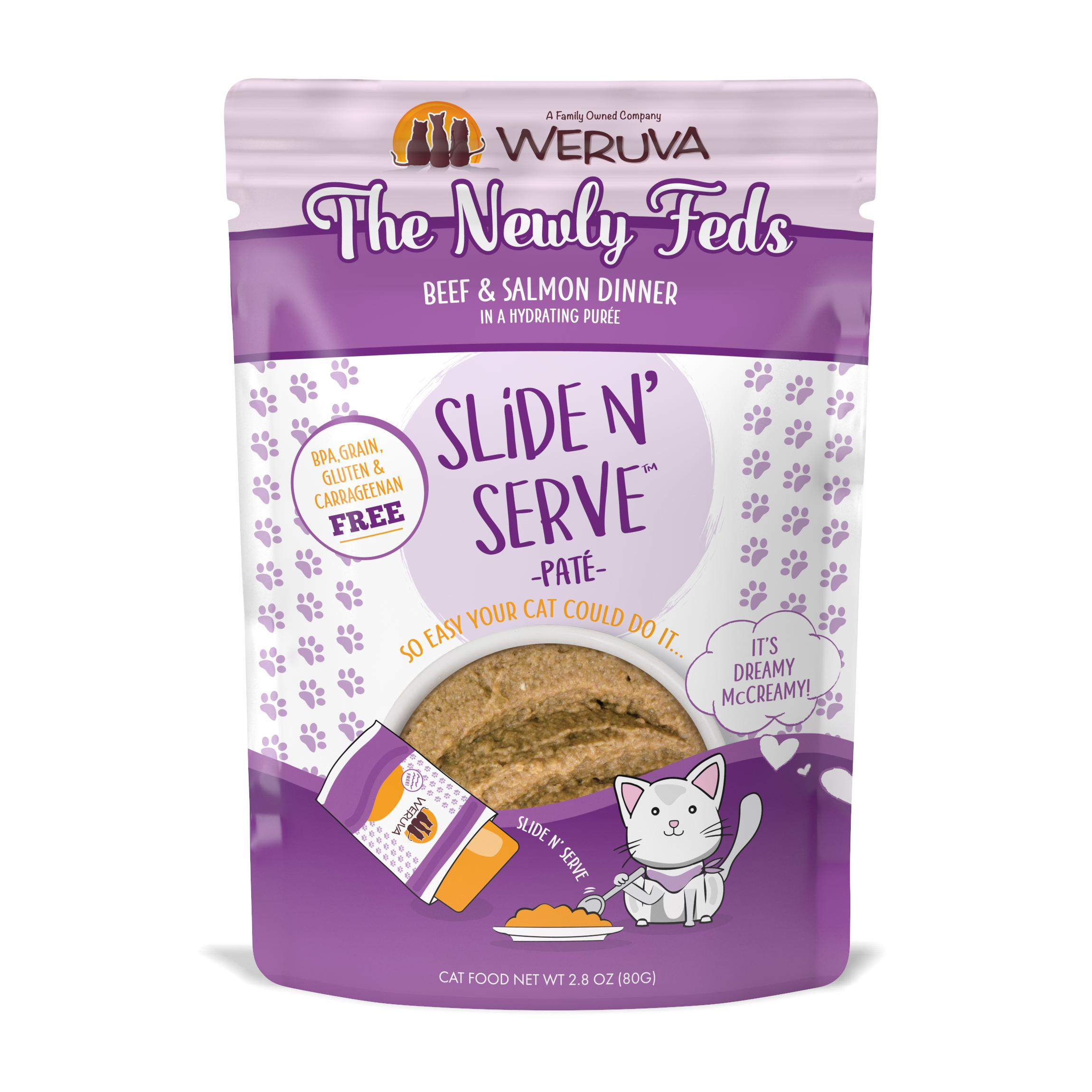 Weruva Cat Slide N' Serve Pate The Newly Feds Beef Salmon Wet CatFood, 2.8-oz