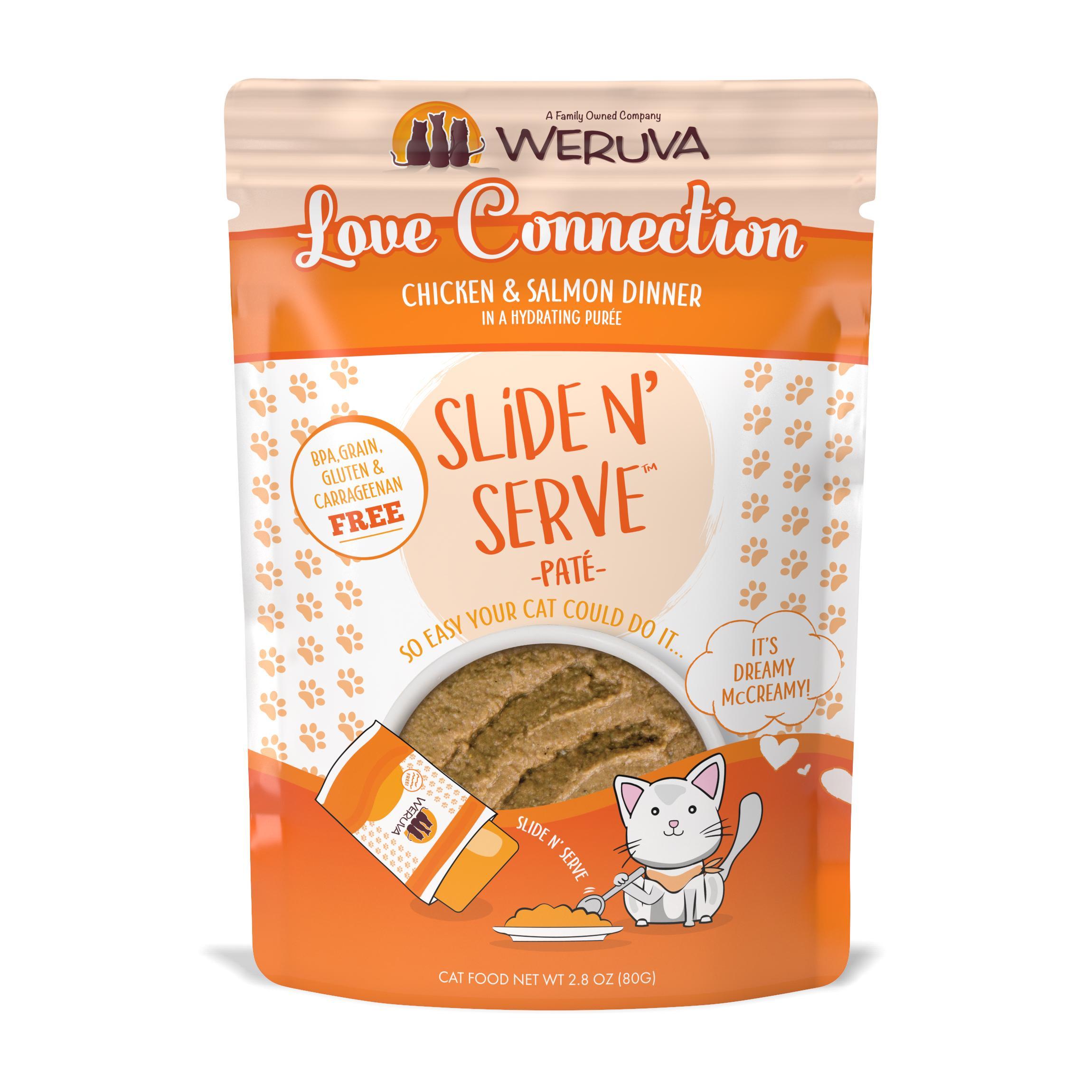 Weruva Cat Slide N' Serve Pate Love Connection Chicken SalmonWet CatFood, 2.8-oz