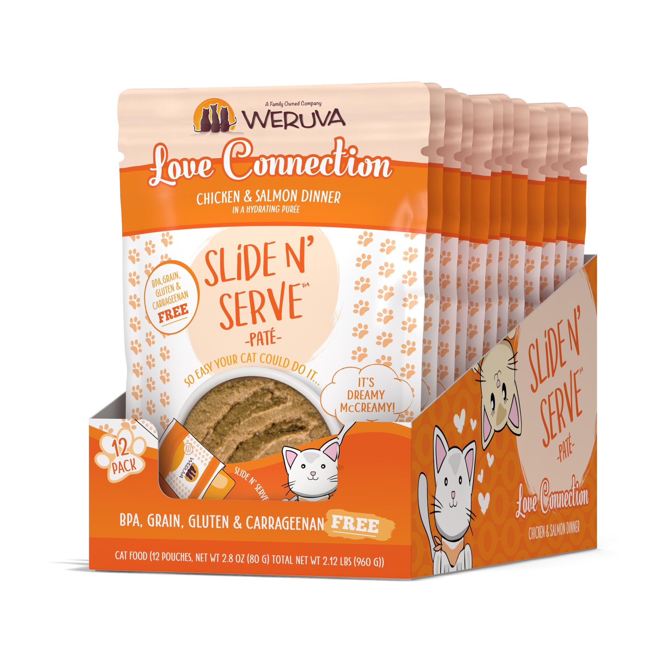 Weruva Cat Slide N' Serve Pate Love Connection Chicken Salmon Wet Cat Food, 2.8-oz, case of 12