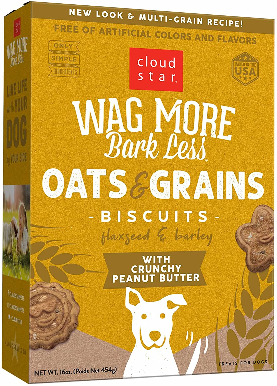 Cloud Star Wag More Bark Less Oven Baked with Crunchy Peanut Butter Cookie Recipe Dog Treats, 16-oz box