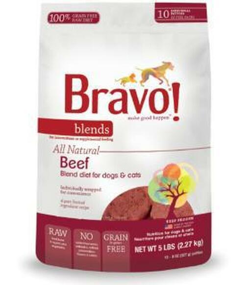 Bravo Blends Beef Patties (8-oz) Raw Frozen Dog & Cat Food, 5-lb (Size: 5lbs) Image