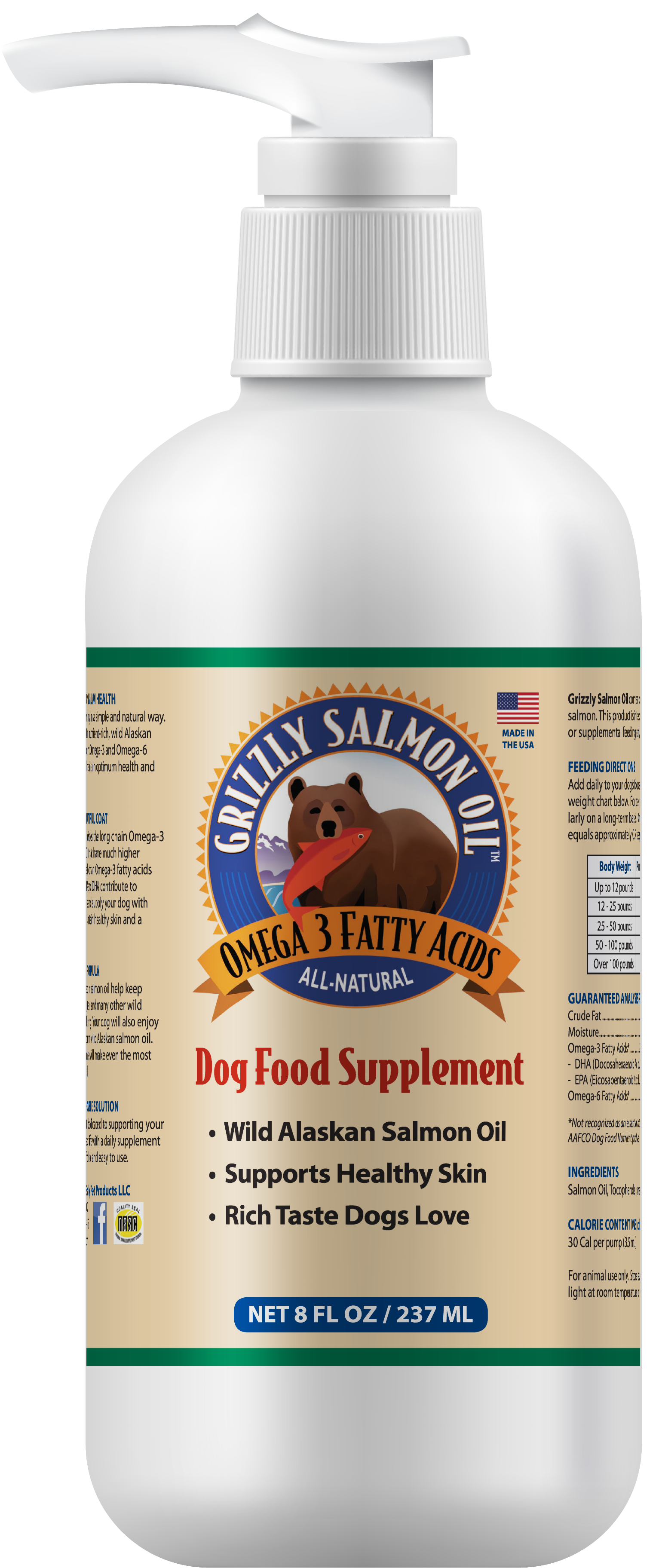 Grizzly Salmon Oil Dog Food Supplement, 8-oz bottle