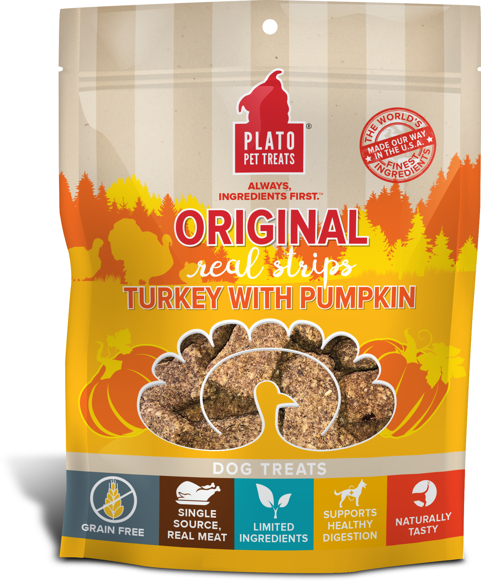 Plato Original Real Strips Turkey With Pumpkin Potato Dog Treat Image