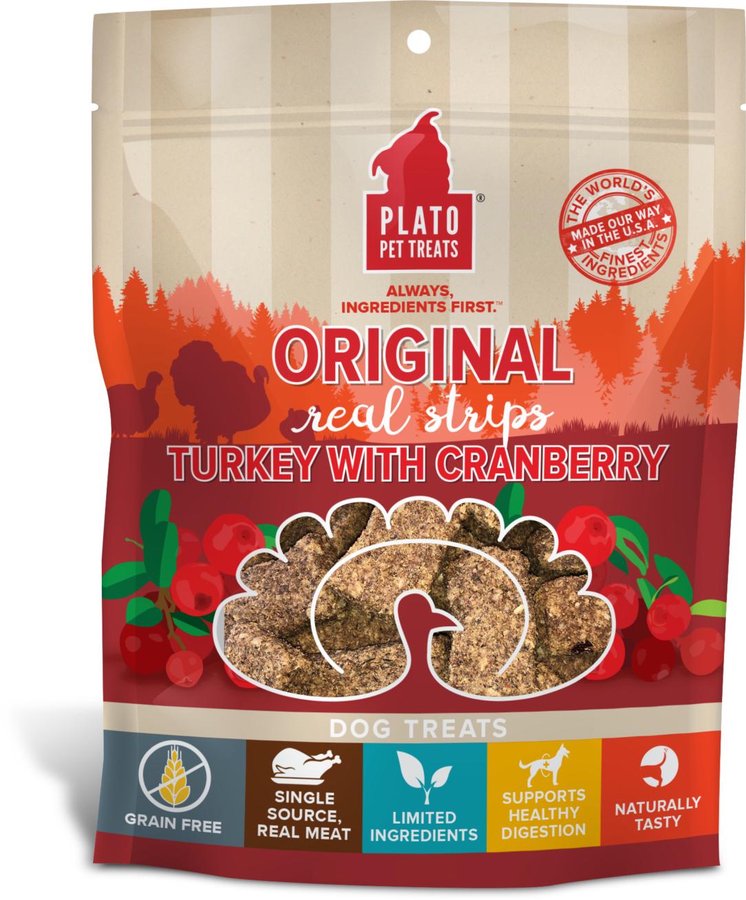Plato Original Real Strips Turkey With Cranberry Dog Treat Image