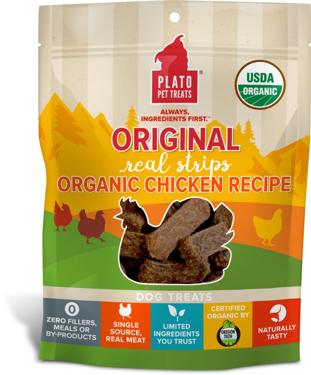 Plato Original Real Strips Organic Chicken Recipe Dog Treats Image