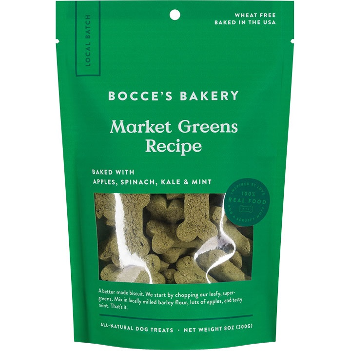Bocce's Bakery Small Batch Market Greens Recipe Dog Biscuits, 8-oz