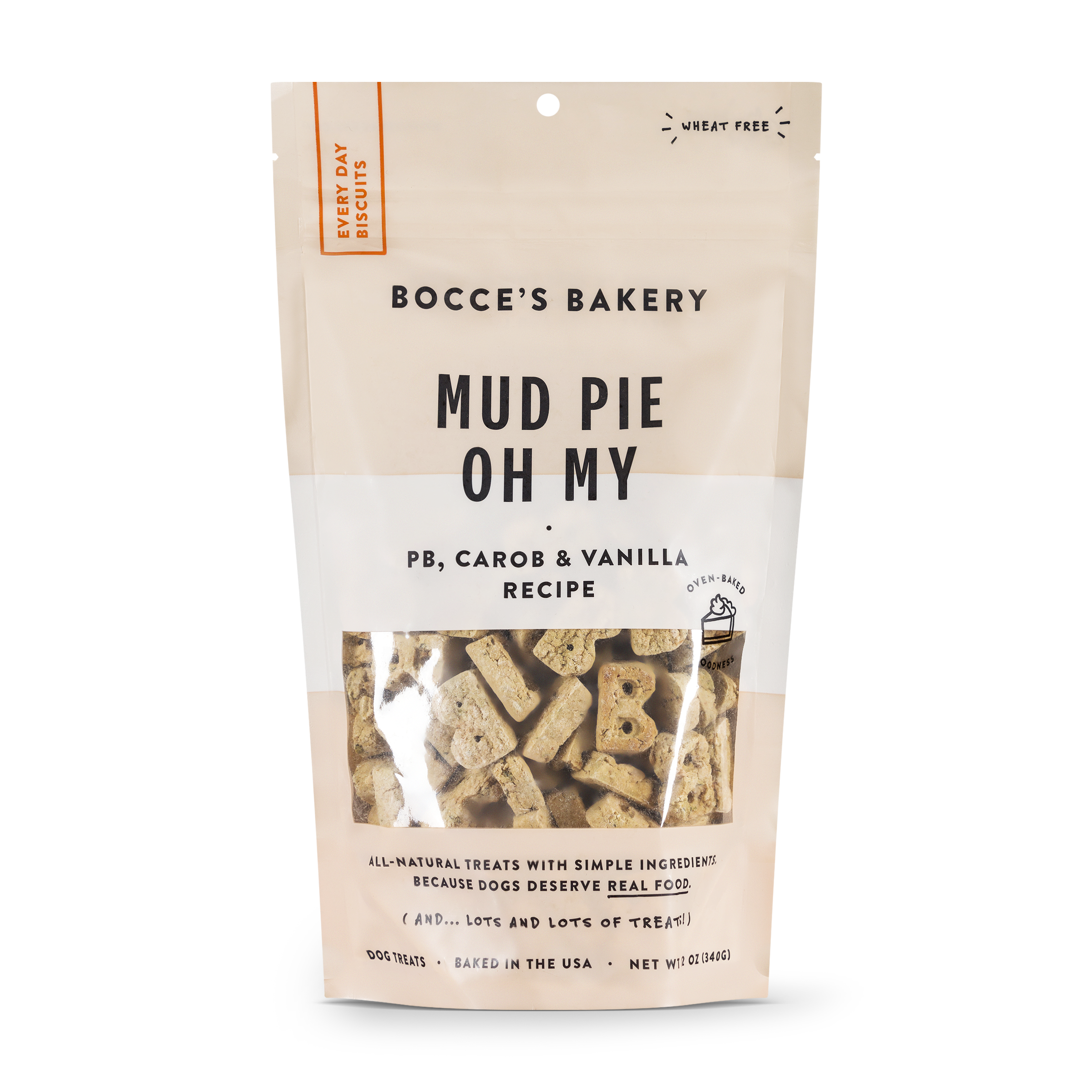 Bocce's Bakery Everyday Mud Pie Oh My Peanut Butter, Carob & Vanilla Recipe Biscuit Dog Treats, 12-oz