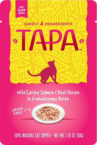 Tapa Wild Caught Salmon & Beef Recipe Cat Food Topper, 1.76-oz pouch