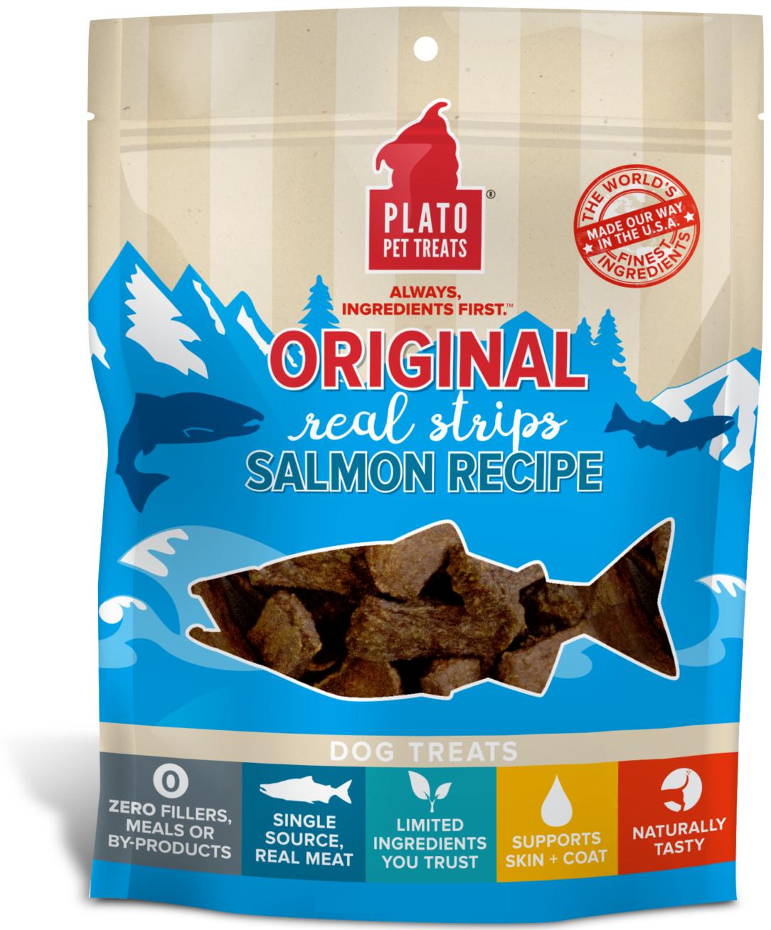 Plato Original Real Strips Salmon Recipe Dog Treat Image