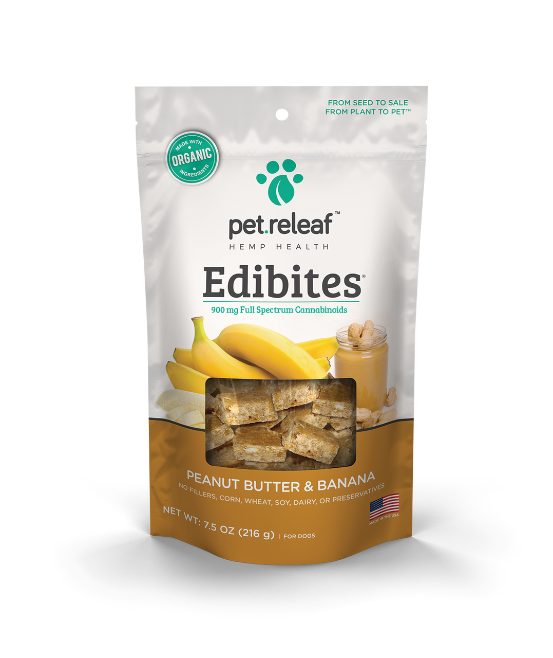 Pet Releaf Edibites Peanut Butter & Banana Dog Treats, 6.5-oz (Size: 7.5 ounces) Image