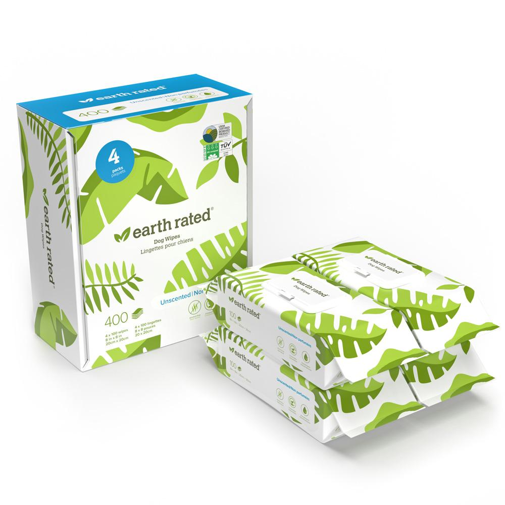 Earth Rated Compostable Pet Grooming Wipes, Unscented, 400-count