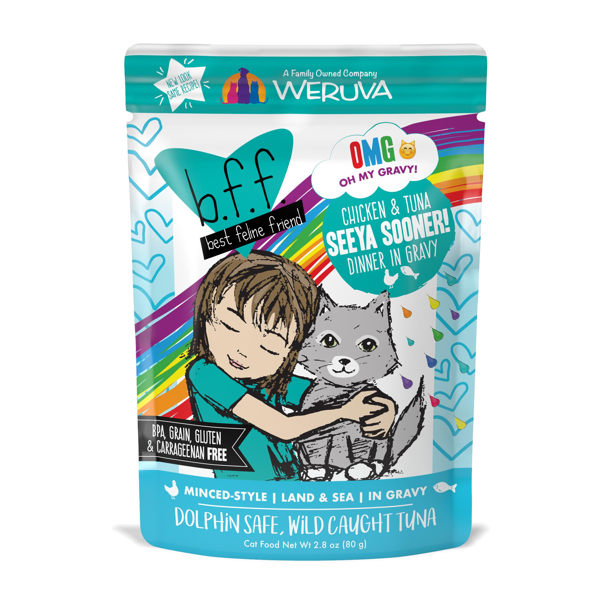 BFF Oh My Gravy! Seeya Sooner! Chicken & Tuna Dinner in Gravy Grain-Free Wet Cat Food Image