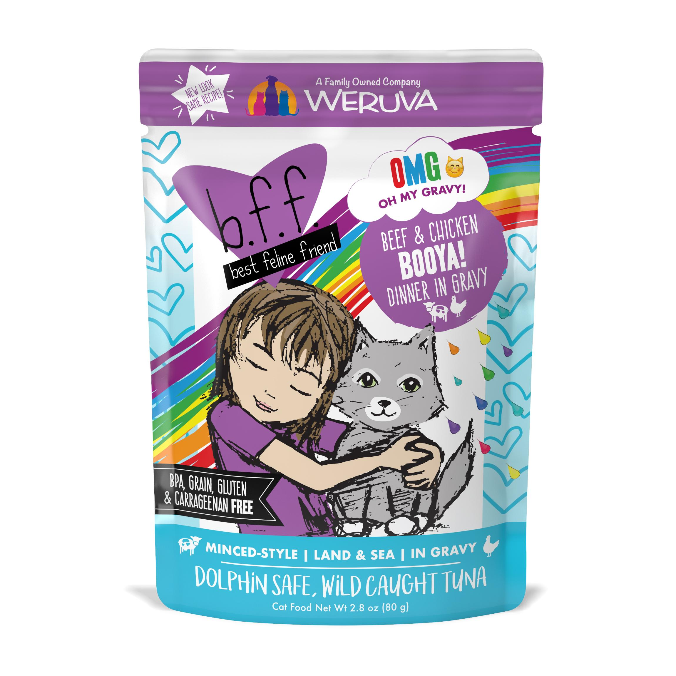 BFF Oh My Gravy! Booya! Beef & Chicken Dinner in Gravy Grain-Free Wet Cat Food, 2.8-oz