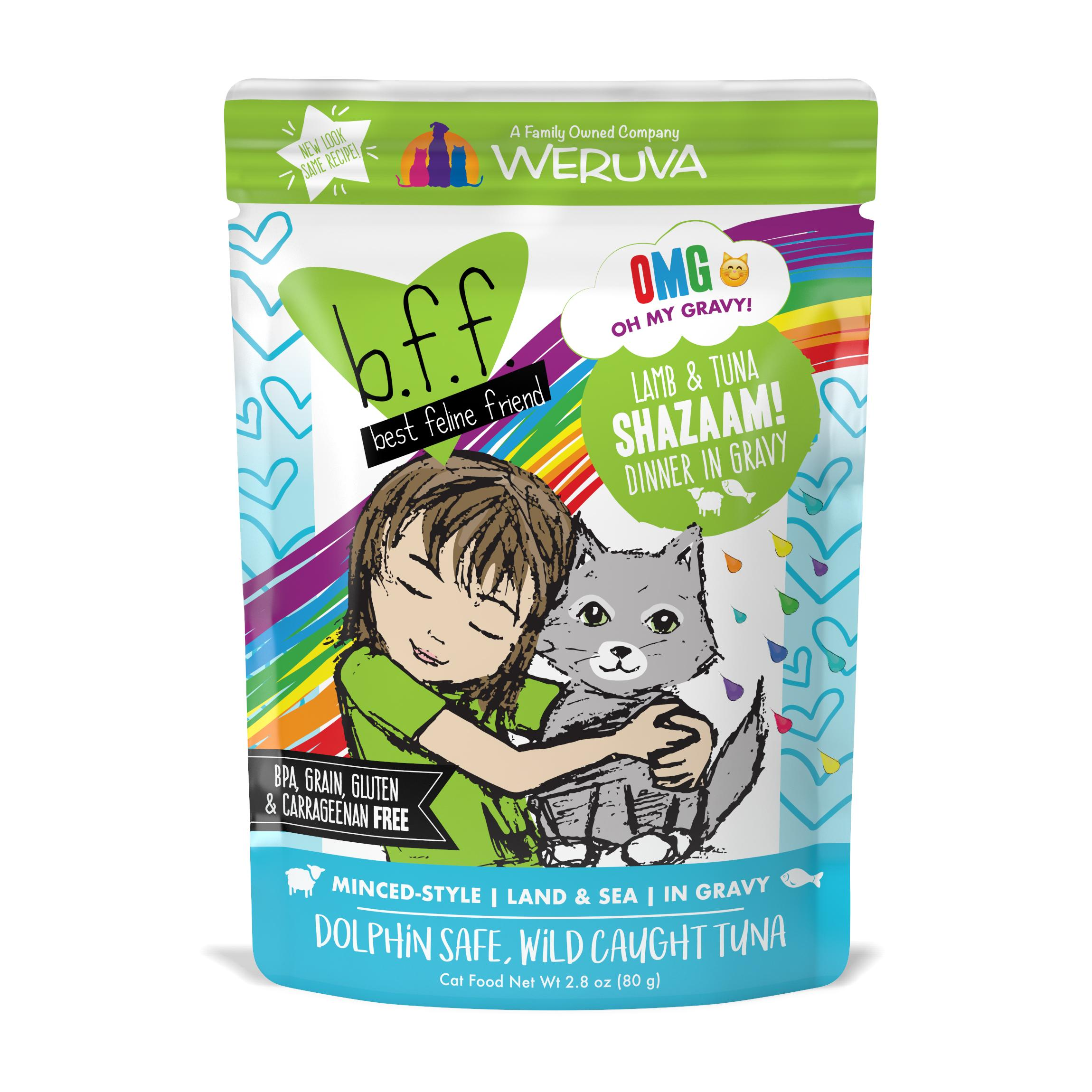 BFF Oh My Gravy! Shazaam! Lamb & Tuna Dinner in Gravy Grain-Free Wet Cat Food, 2.8-oz