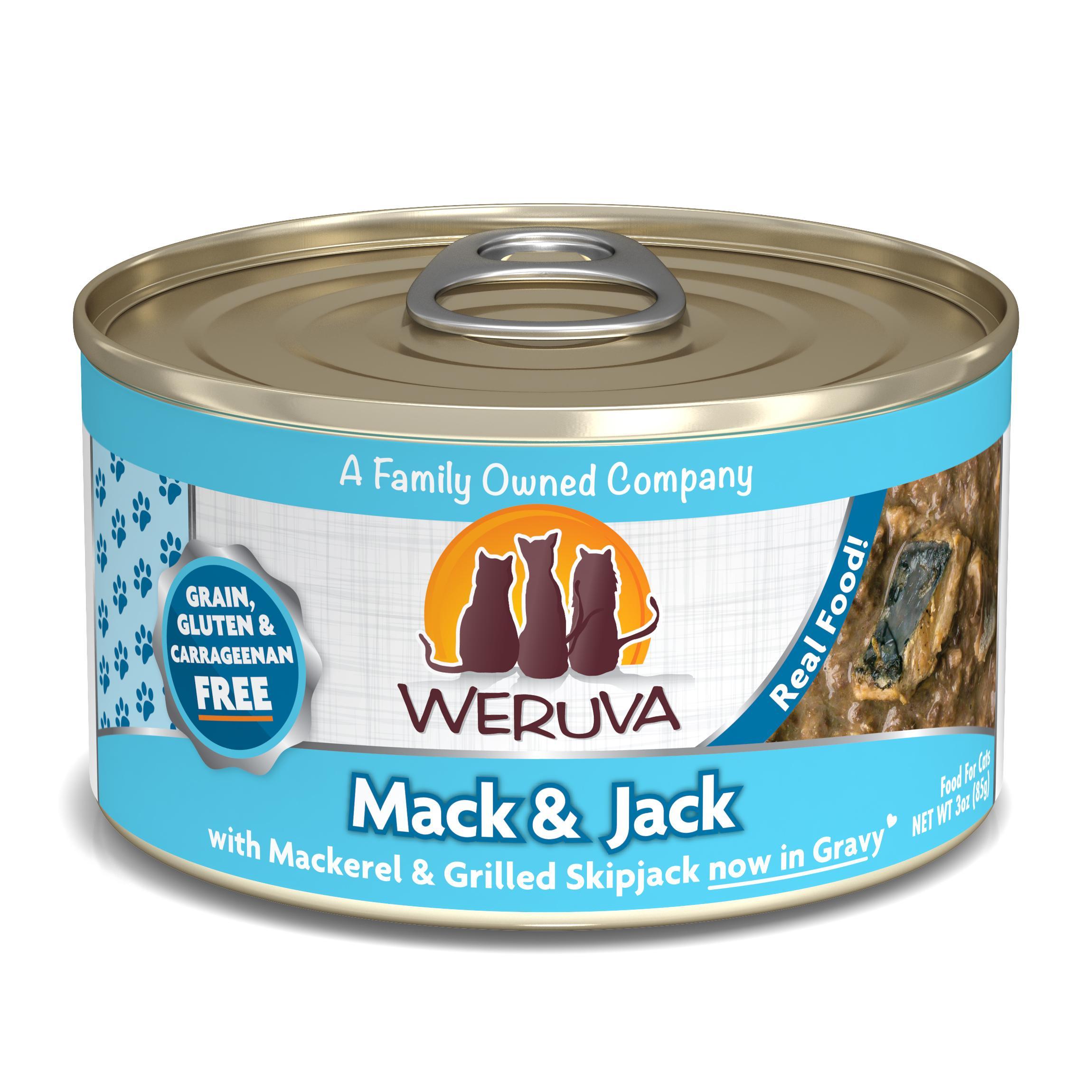 Weruva Cat Classic Mack and Jack with Mackerel & Grilled Skipjack Grain-Free Wet Cat Food, 3-oz