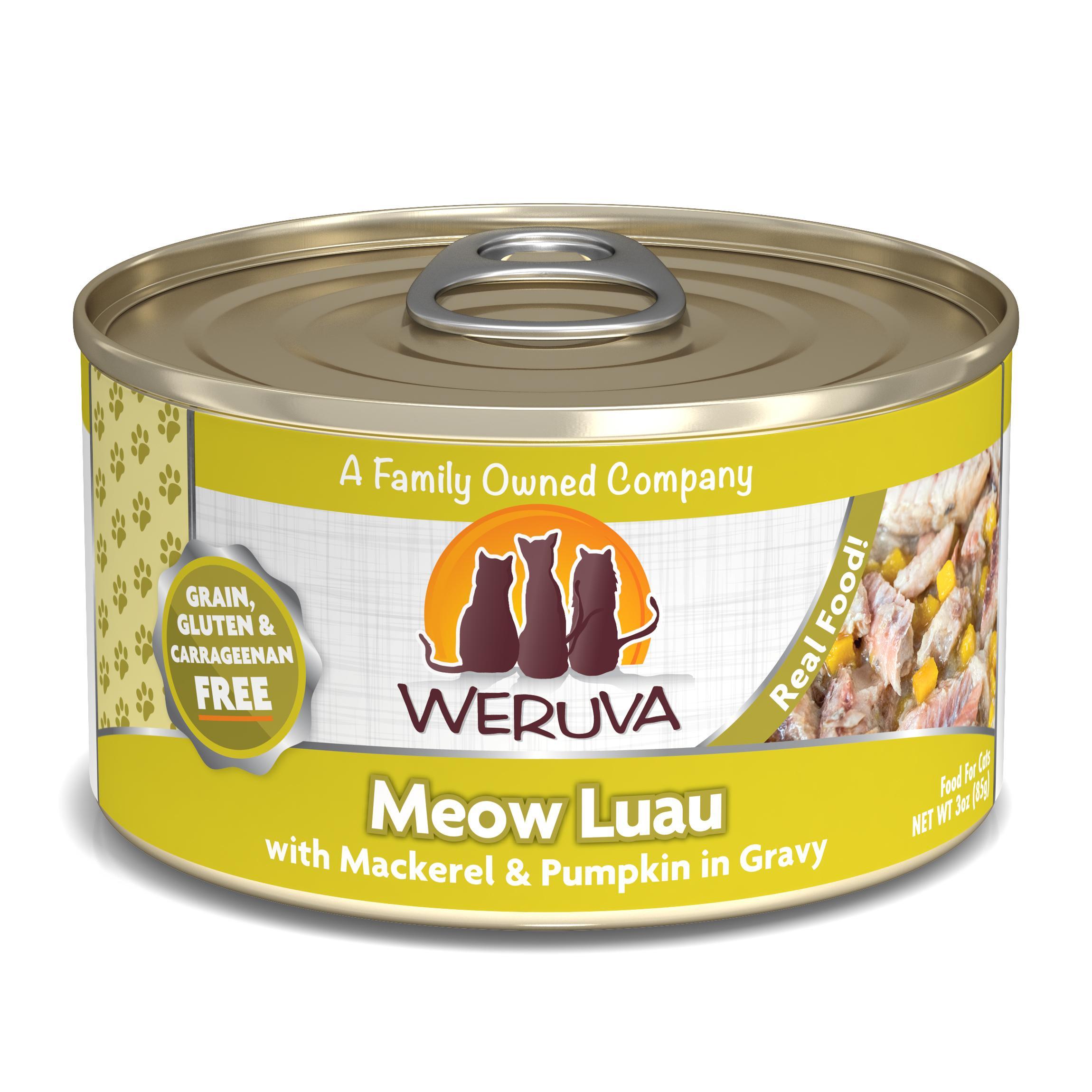 Weruva Cat Classic Meow Luau with Mackerel & Pumpkin Grain-Free Wet Cat Food, 3-oz