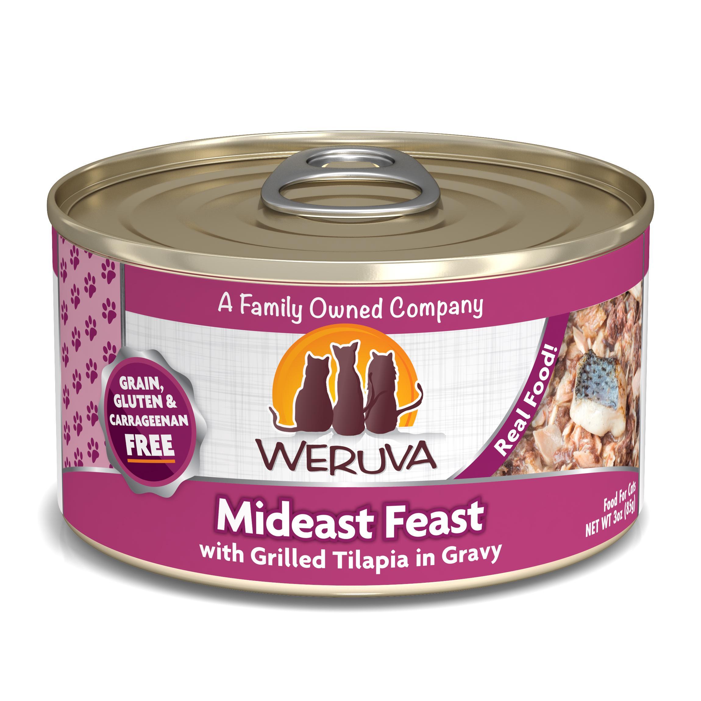 Weruva Cat Classic Mideast Feast with Grilled Tilapia in Gravy Grain-Free Wet Cat Food, 3-oz