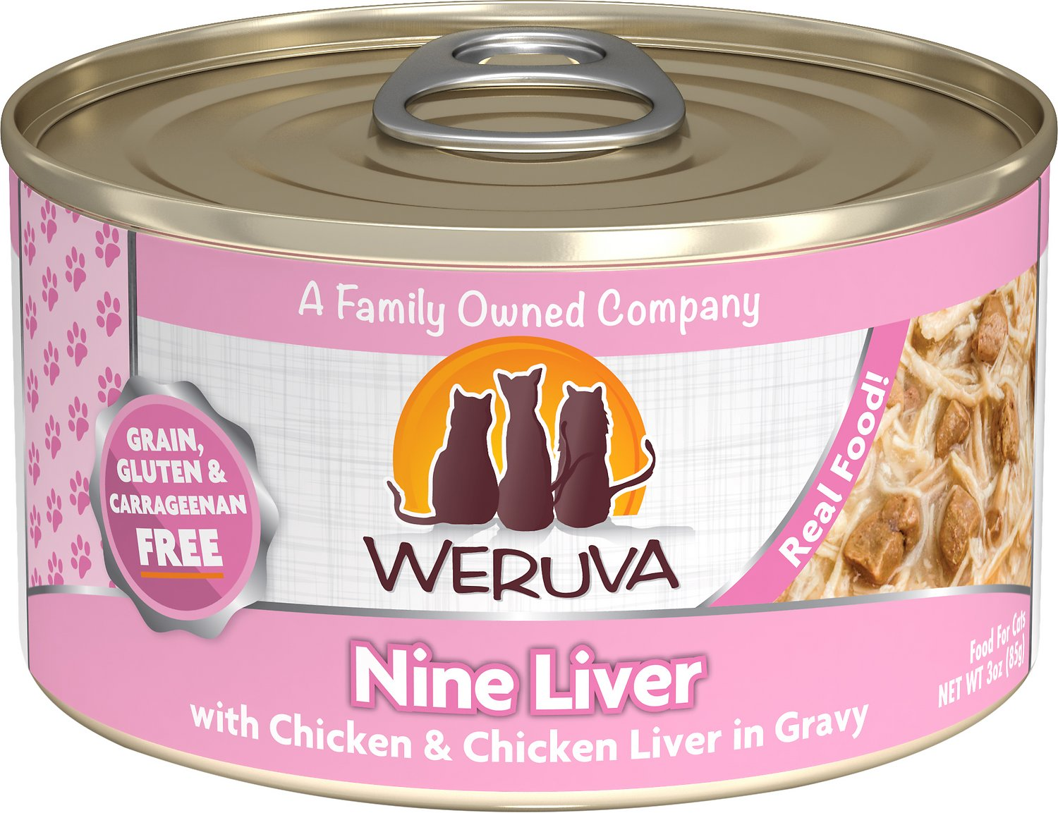 Weruva Cat Classic Nine Liver with Chicken & Chicken Liver in Gravy Grain-Free Wet Cat Food, 3-oz