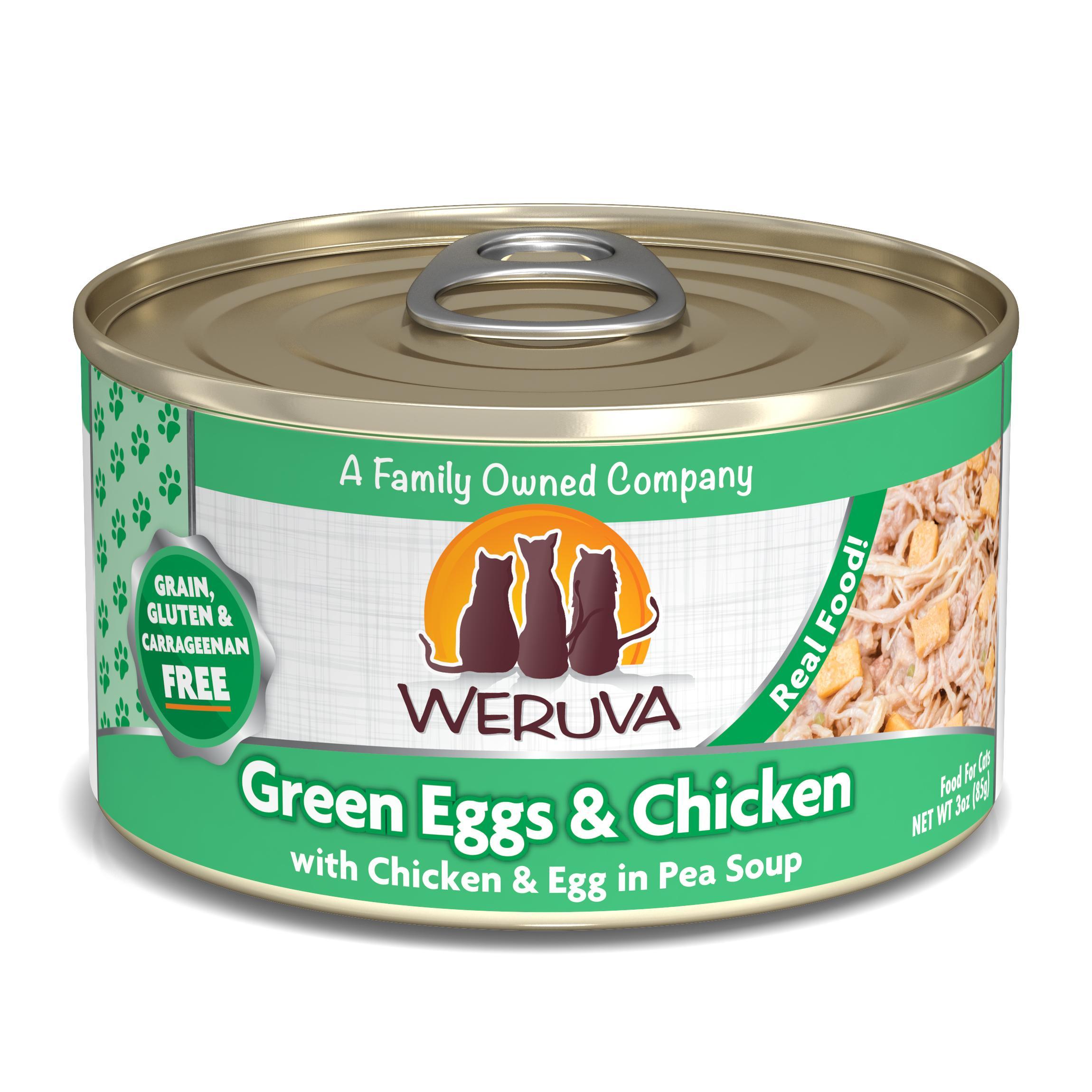 Weruva Cat Classic Green Eggs & Chicken with Chicken, Egg & Greens in Gravy Grain-Free Wet Cat Food, 3-oz