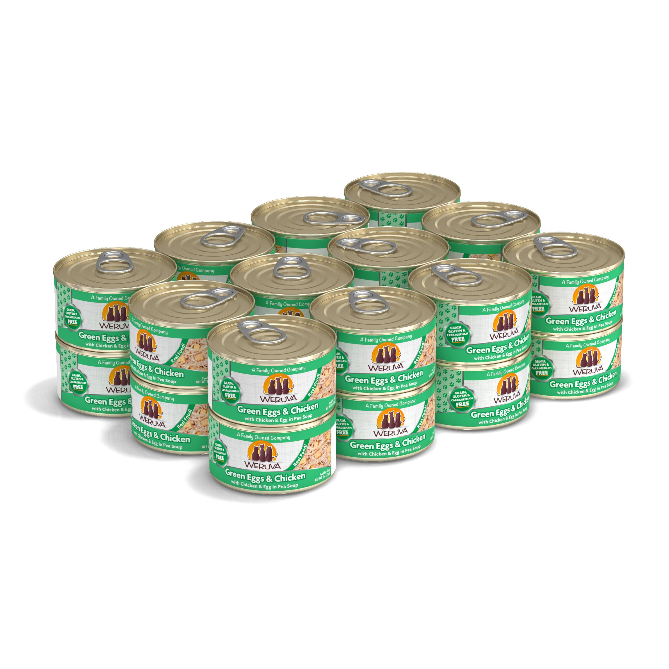 Weruva Cat Classic Green Eggs & Chicken with Chicken, Egg & Greens in Gravy Grain-Free Wet Cat Food, 3-oz, case of 24