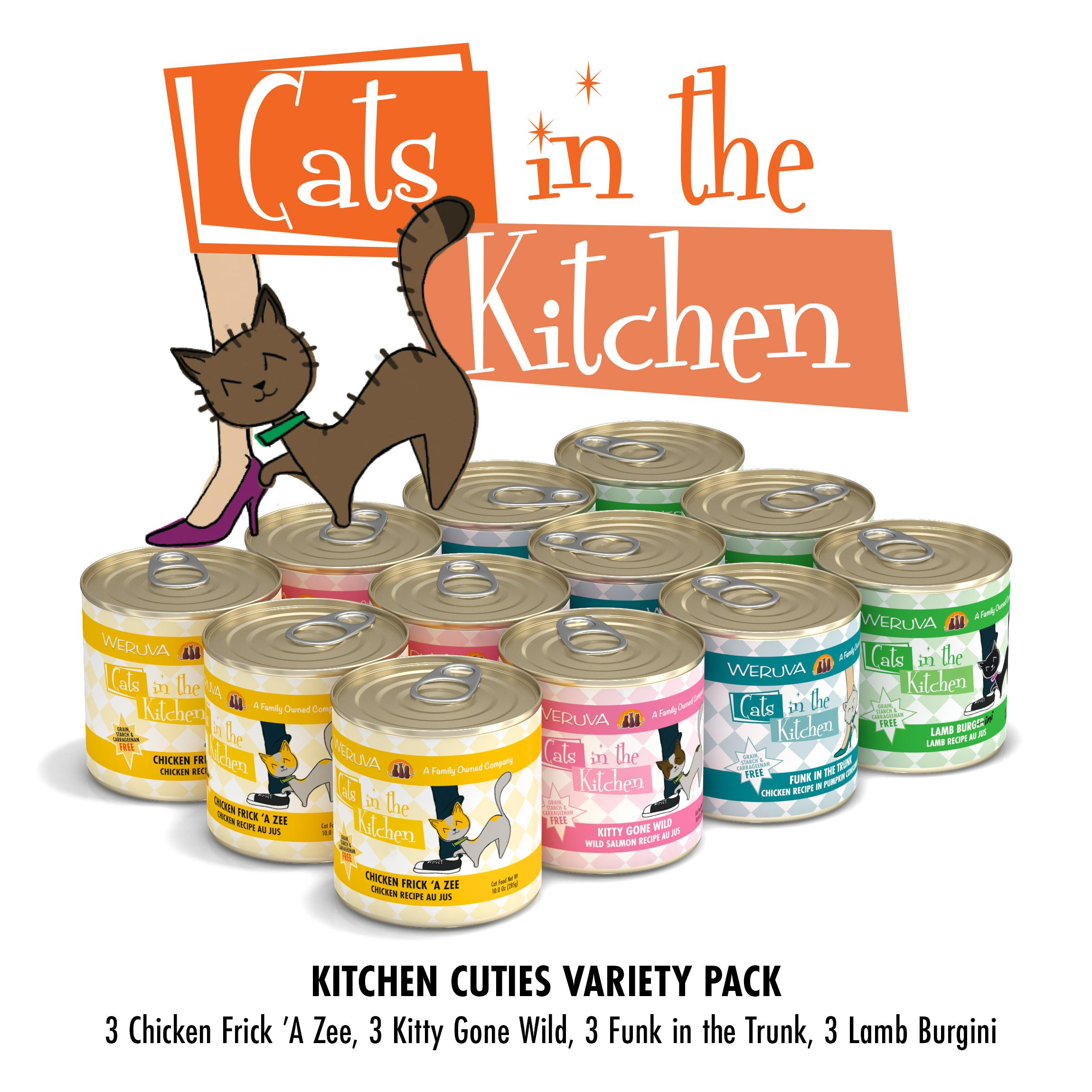Weruva Cats in the Kitchen Kitchen Cuties Variety Pack Grain-Free Canned Cat Food, 10-oz, case of 12
