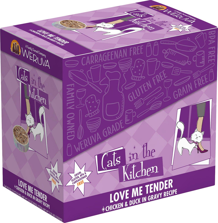 Weruva Cats in the Kitchen Love Me Tender Chicken & Duck in Gravy Recipe Grain-Free Wet Cat Food, 3-oz, case of 12
