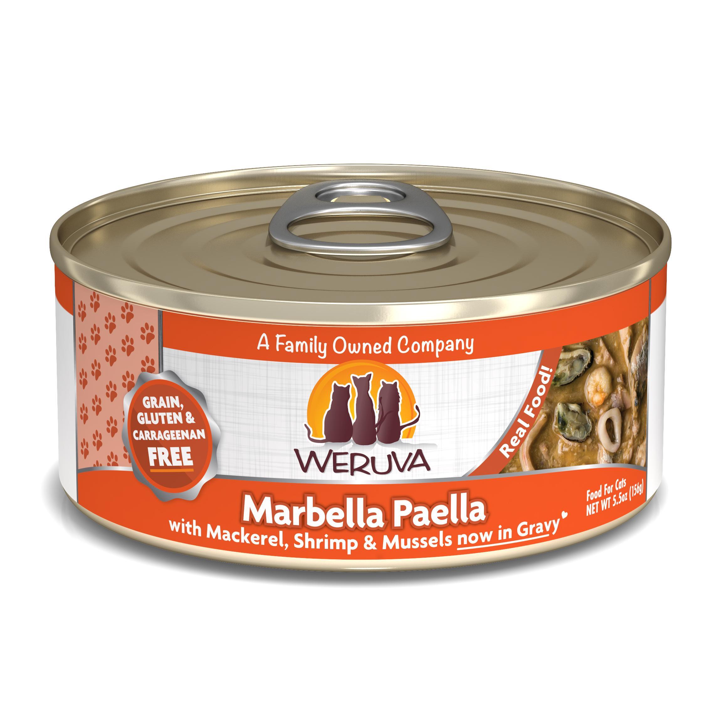 Weruva Cat Classic Marbella Paella with Mackerel, Shrimp & Mussels Grain-Free Wet Cat Food, 5.5-oz