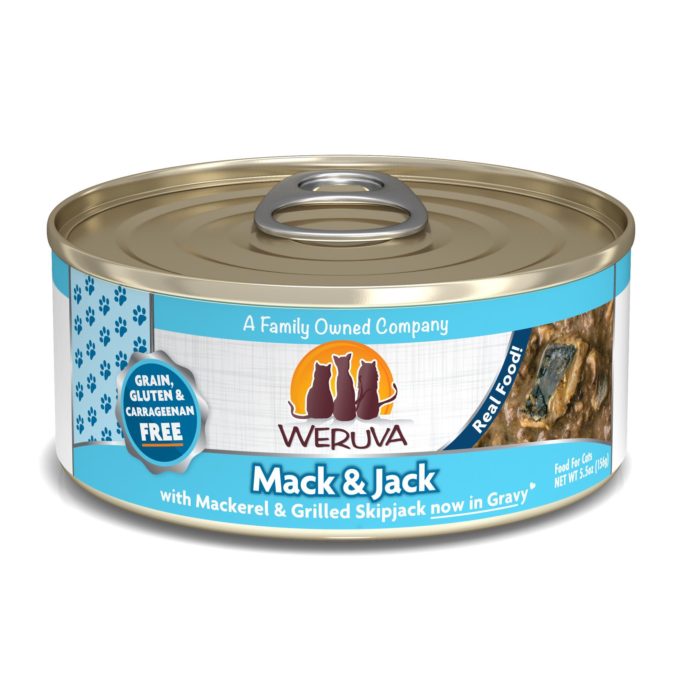 Weruva Cat Classic Mack and Jack with Mackerel & Grilled Skipjack Grain-Free Wet Cat Food, 5.5-oz