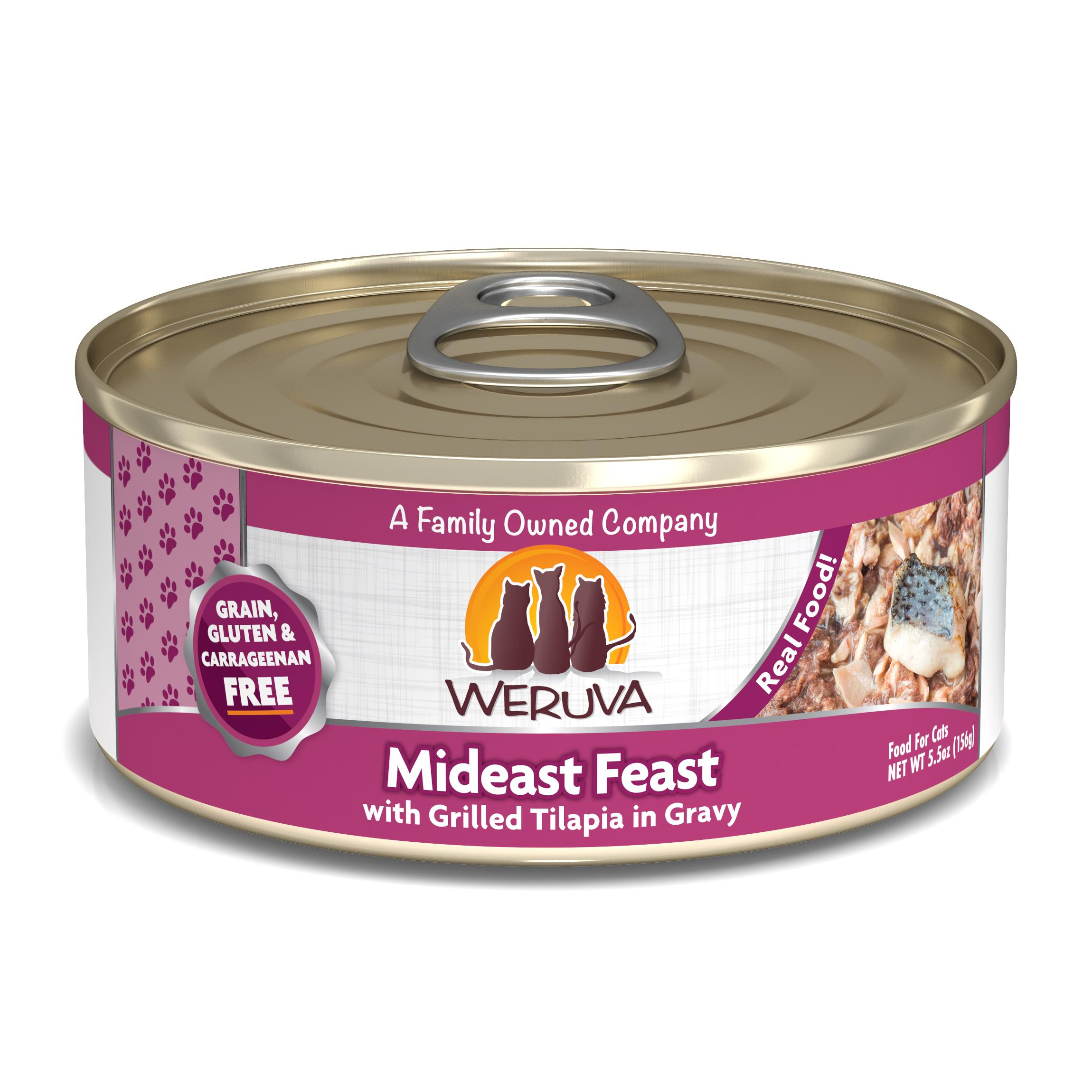 Weruva Cat Classic Mideast Feast with Grilled Tilapia in Gravy Grain-Free Wet Cat Food, 5.5-oz