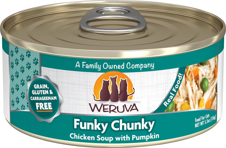 Weruva Cat Classic Funky Chunky Chicken Soup with Pumpkin Grain-Free Wet Cat Food, 5.5-oz