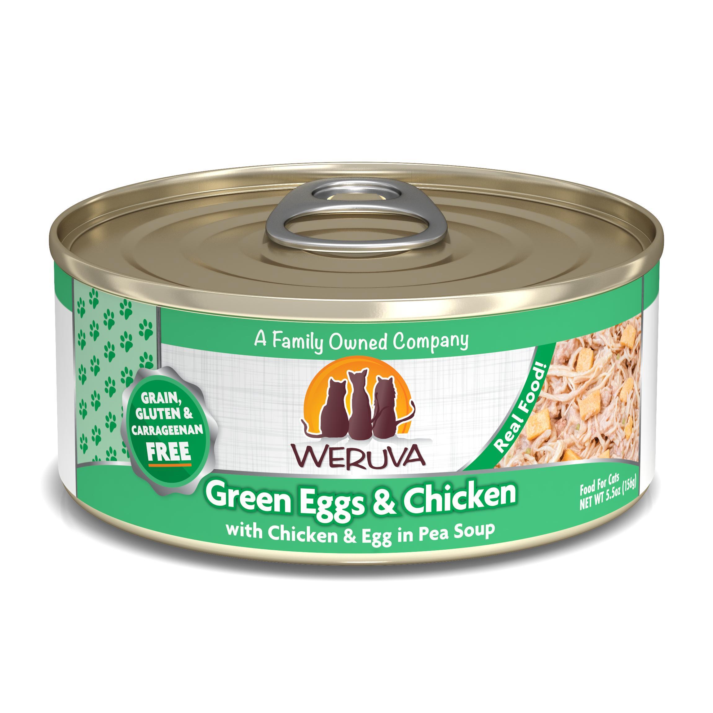 Weruva Cat Classic Green Eggs & Chicken with Chicken, Egg & Greens in Gravy Grain-Free Wet Cat Food, 5.5-oz