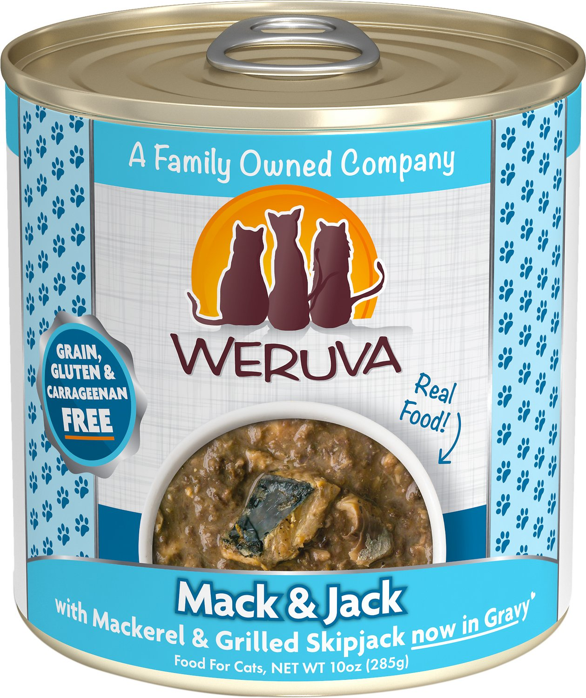 Weruva Cat Classic Mack and Jack with Mackerel & Grilled Skipjack Grain-Free Wet Cat Food, 10-oz