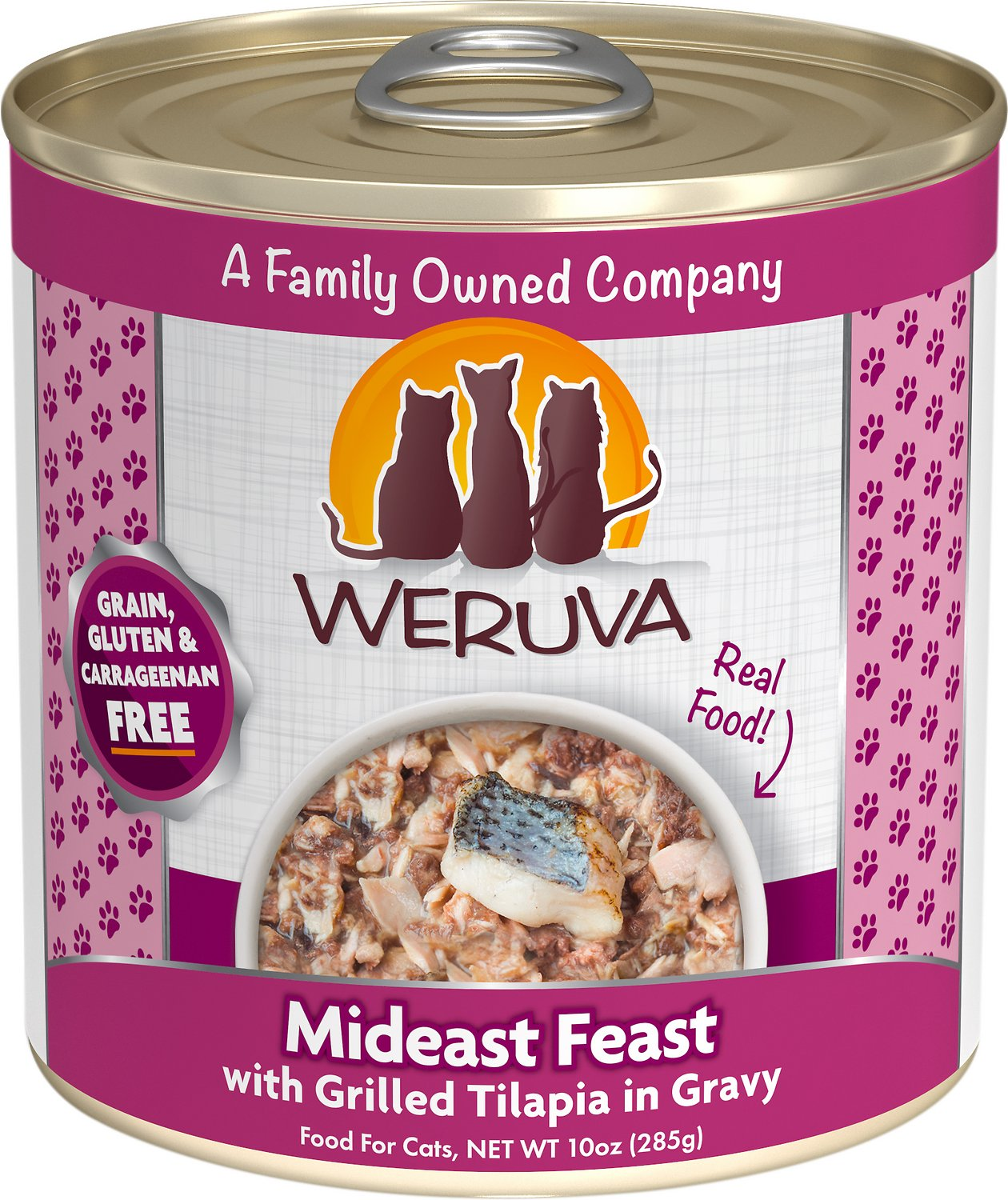 Weruva Cat Classic Mideast Feast with Grilled Tilapia in Gravy Grain-Free Wet Cat Food, 10-oz